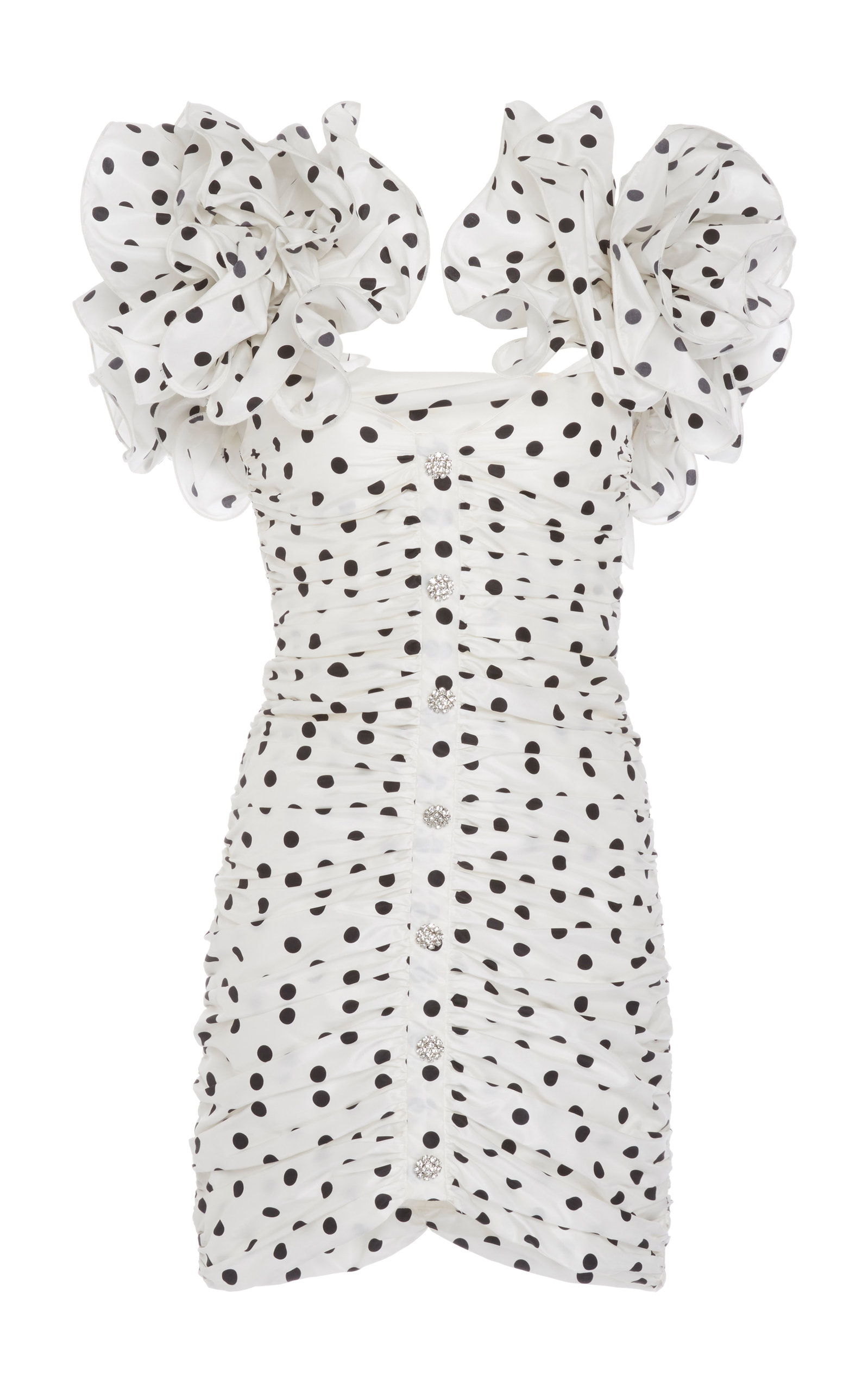 Buy Alessandra Rich Polka-Dot Ruffled Ruched Silk Mini Dress online, shop Alessandra Rich at the best price