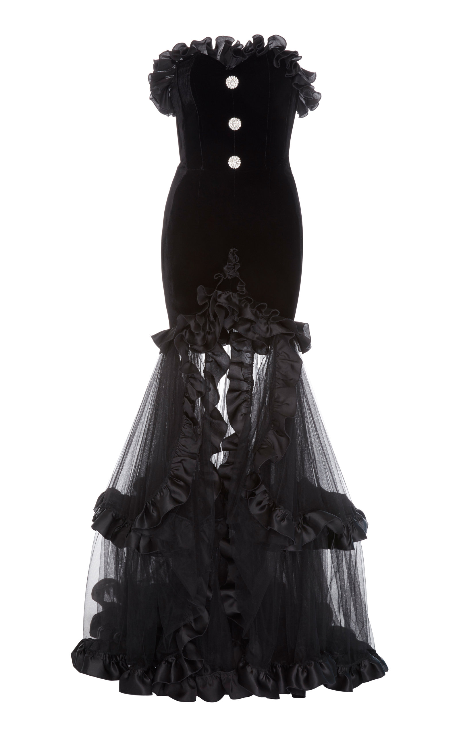 Buy Alessandra Rich Ruffled Embellished Tulle-Paneled Velvet Gown online, shop Alessandra Rich at the best price
