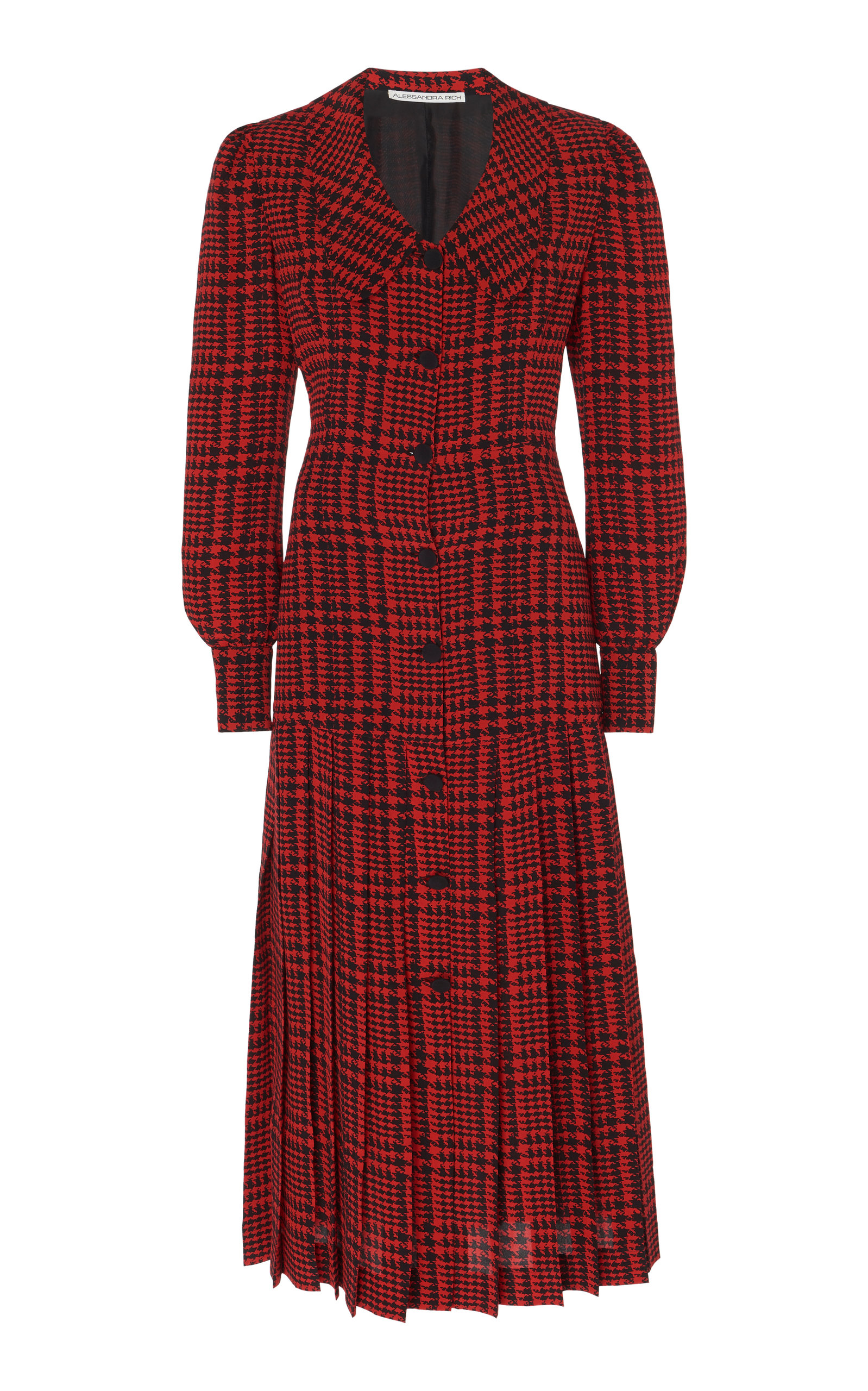 Buy Alessandra Rich Pleated Houndstooth Silk Midi Dress online, shop Alessandra Rich at the best price