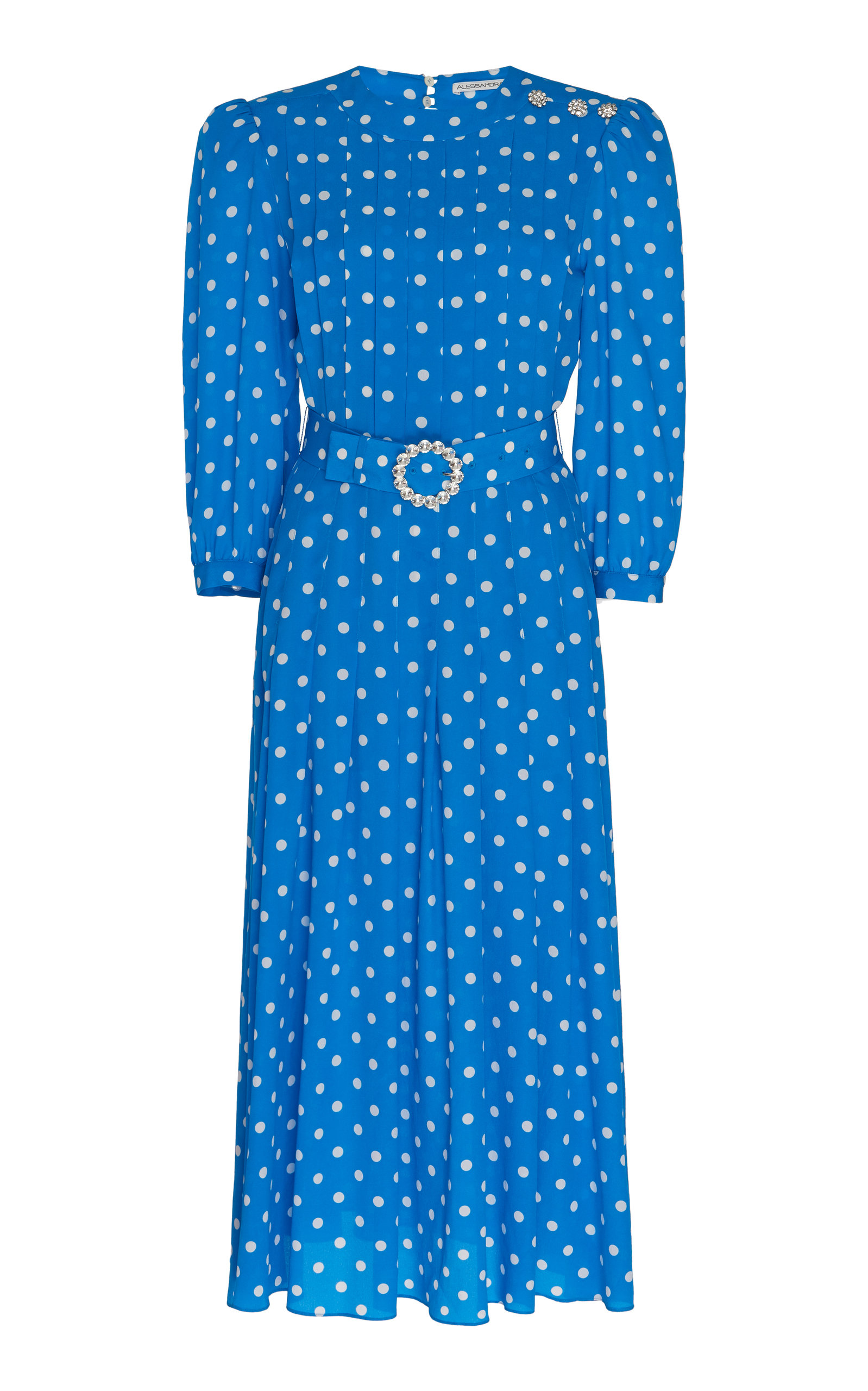 Buy Alessandra Rich Belted Embellished Polka-Dot Silk Midi Dress online, shop Alessandra Rich at the best price