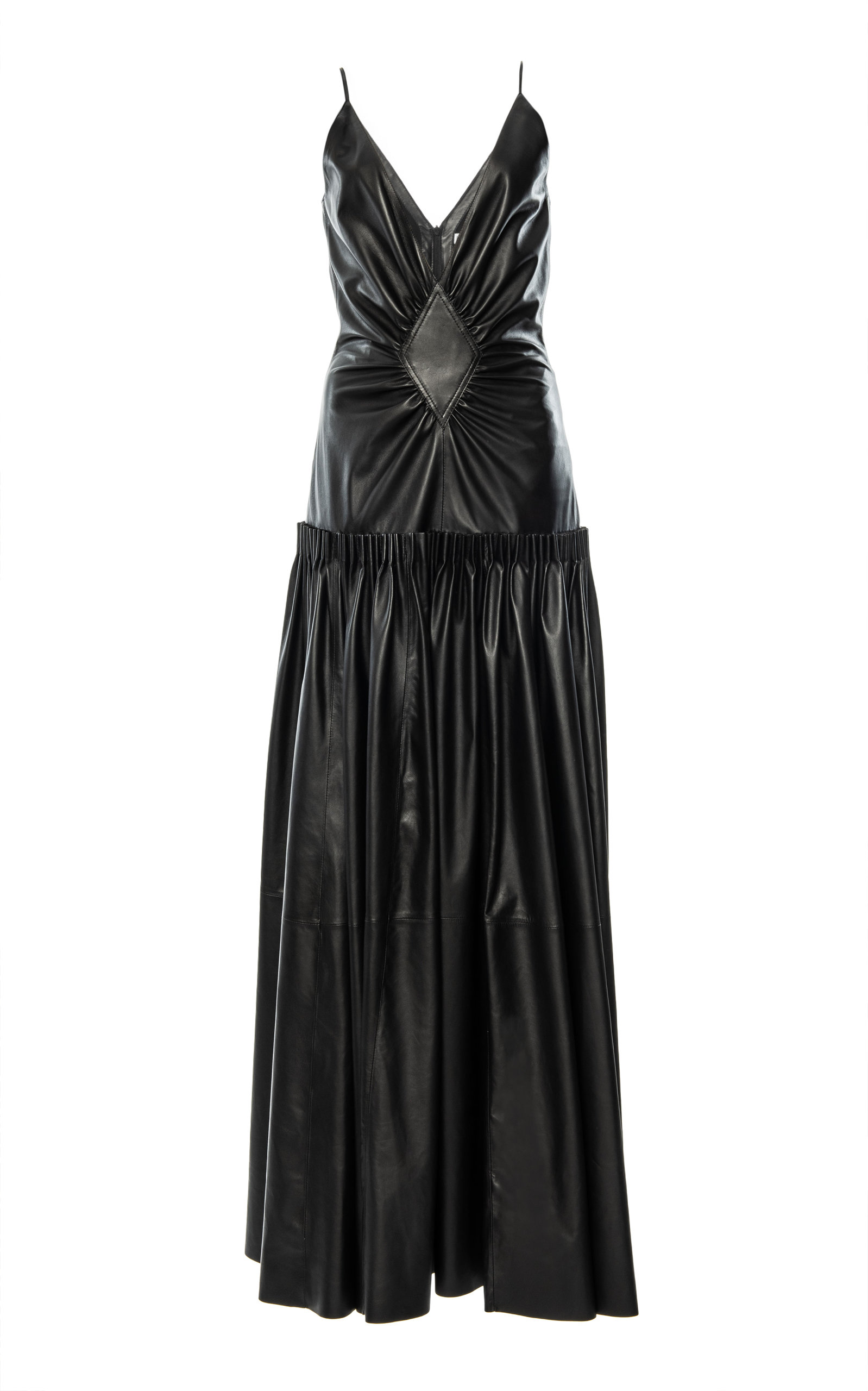 Buy Loewe Gathered Leather-Blend Maxi Dress online, shop Loewe at the best price
