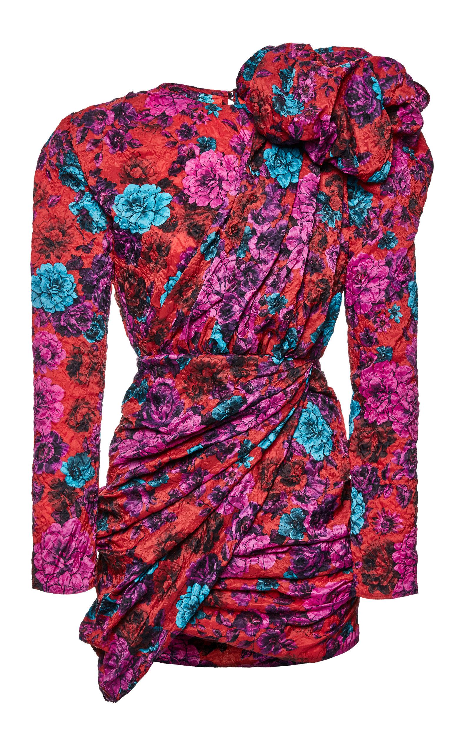 Buy Magda Butrym Crinkled Floral-Print Jacquard Asymmetric Mini Dress online, shop Magda Butrym at the best price