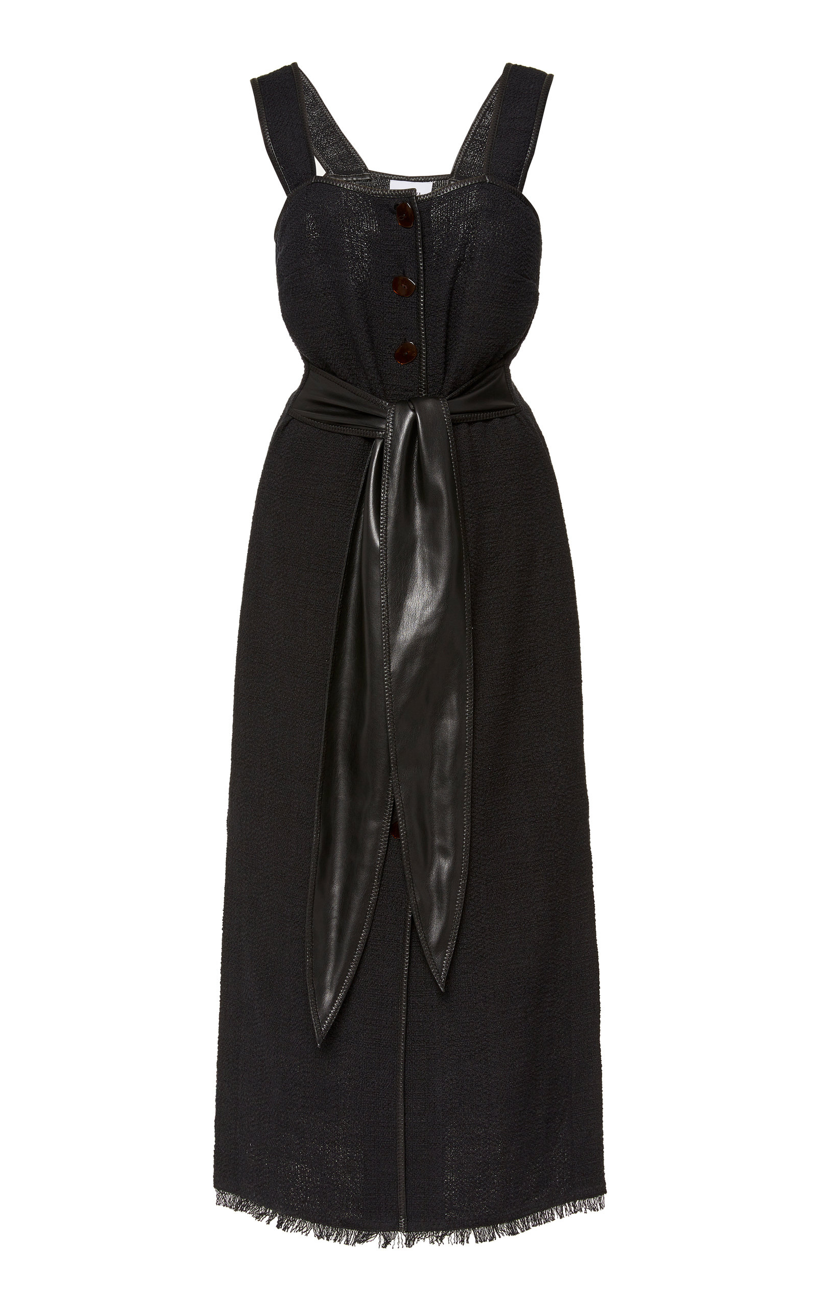 Buy Nanushka Rita Tie-Detailed Frayed Cotton-Blend Midi Dress online, shop Nanushka at the best price