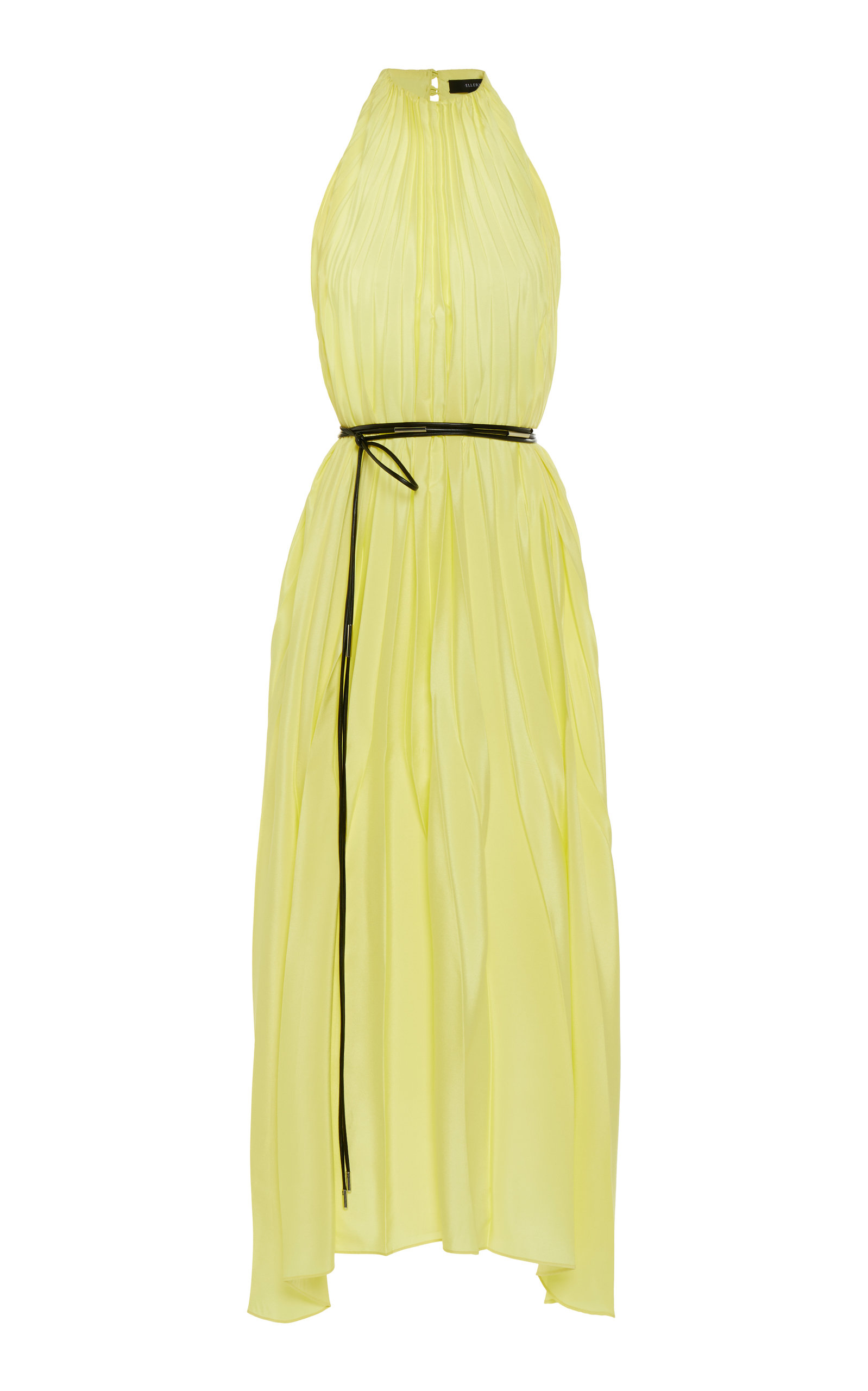 Buy Ellery Pleated Belted Satin Midi Dress online, shop Ellery at the best price