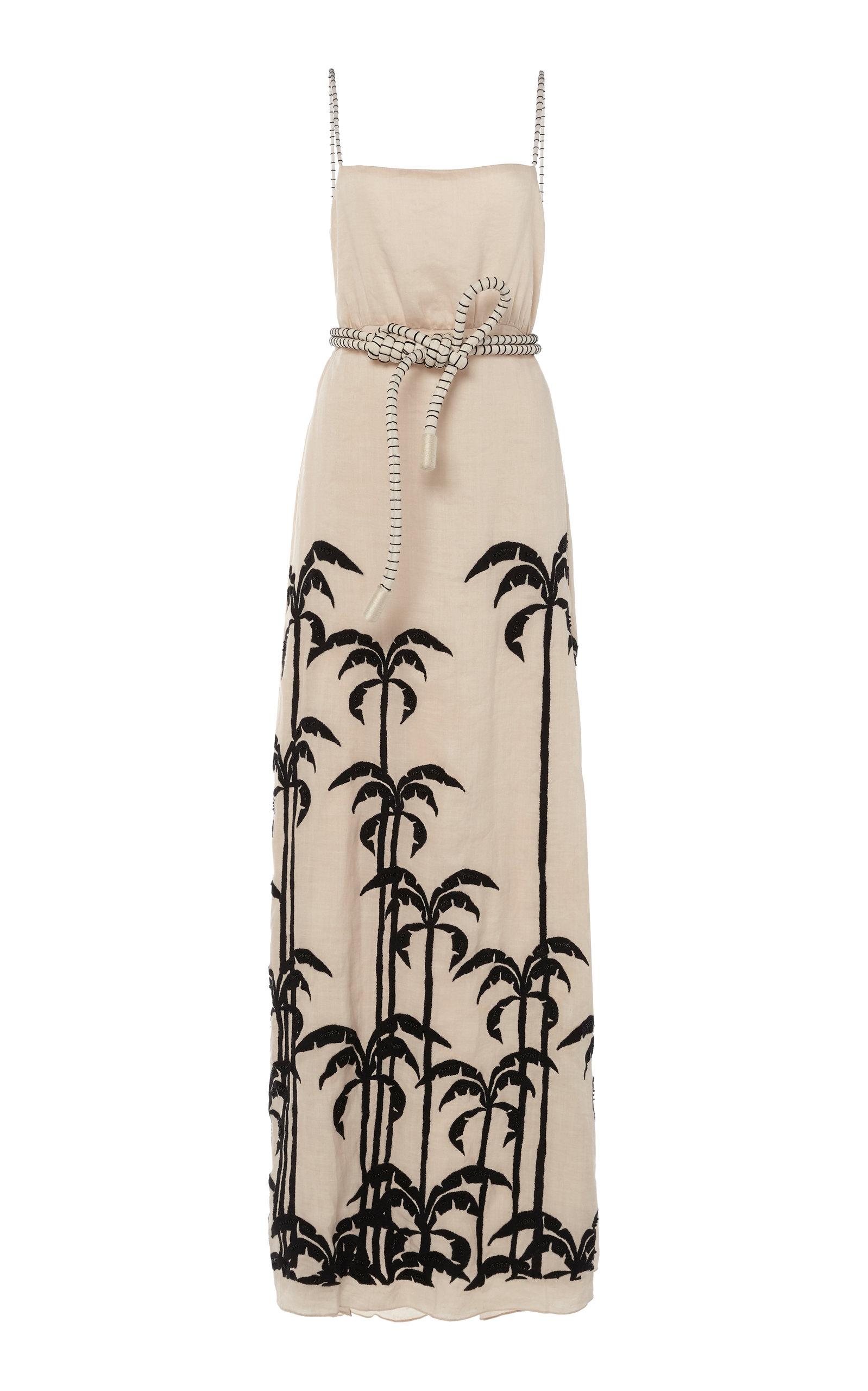 Buy Johanna Ortiz Salonniere Embroidered Belted Linen Maxi Dress online, shop Johanna Ortiz at the best price