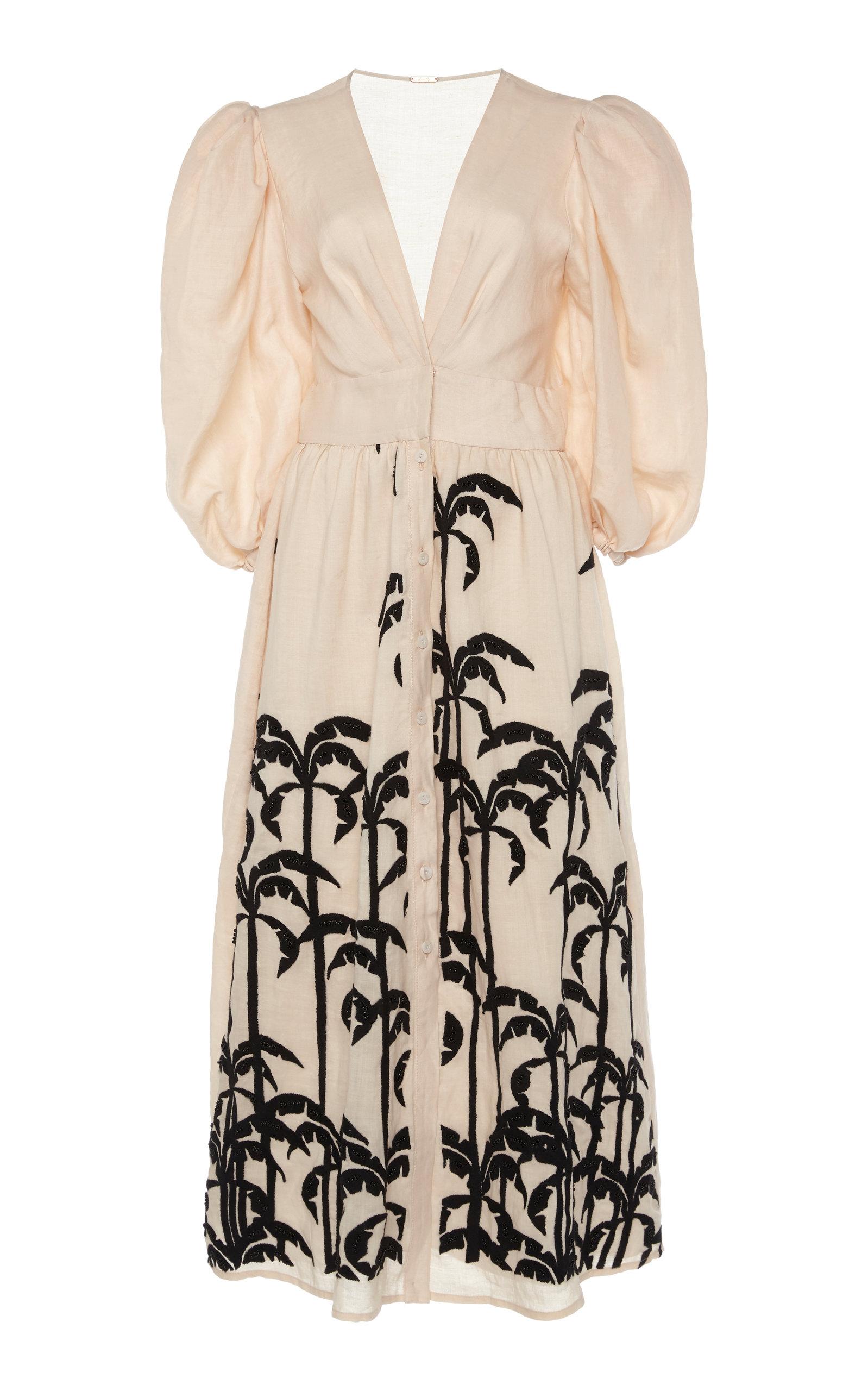 Buy Johanna Ortiz Quizas Embroidered Linen Midi Dress online, shop Johanna Ortiz at the best price