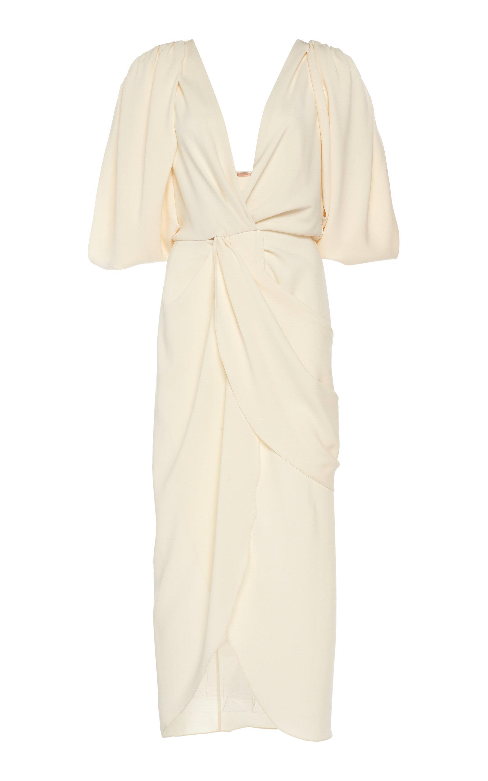 Buy Johanna Ortiz Classic Meets Cuba Draped Crepe Midi Dress online, shop Johanna Ortiz at the best price