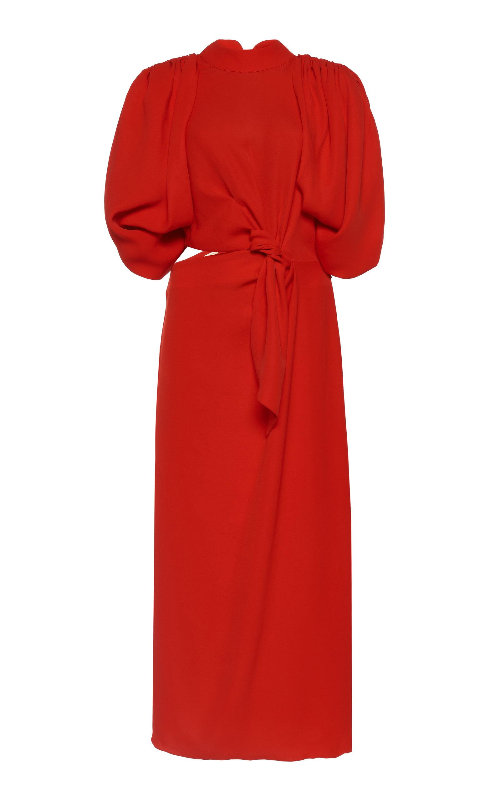 Buy Johanna Ortiz Organic Construction Knotted Silk-Blend Midi Dress online, shop Johanna Ortiz at the best price