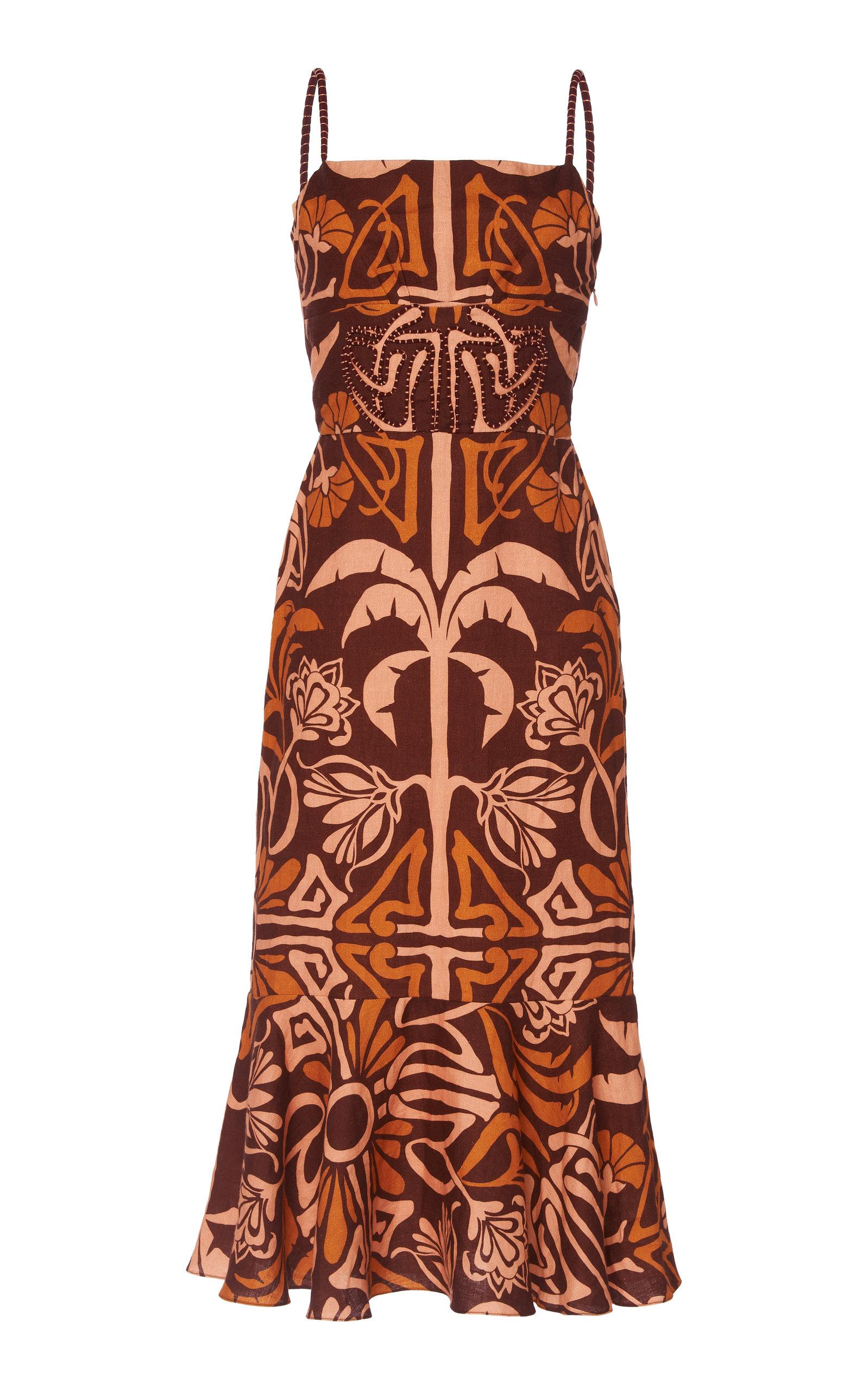 Buy Johanna Ortiz Silent Flame Printed Linen Midi Dress online, shop Johanna Ortiz at the best price