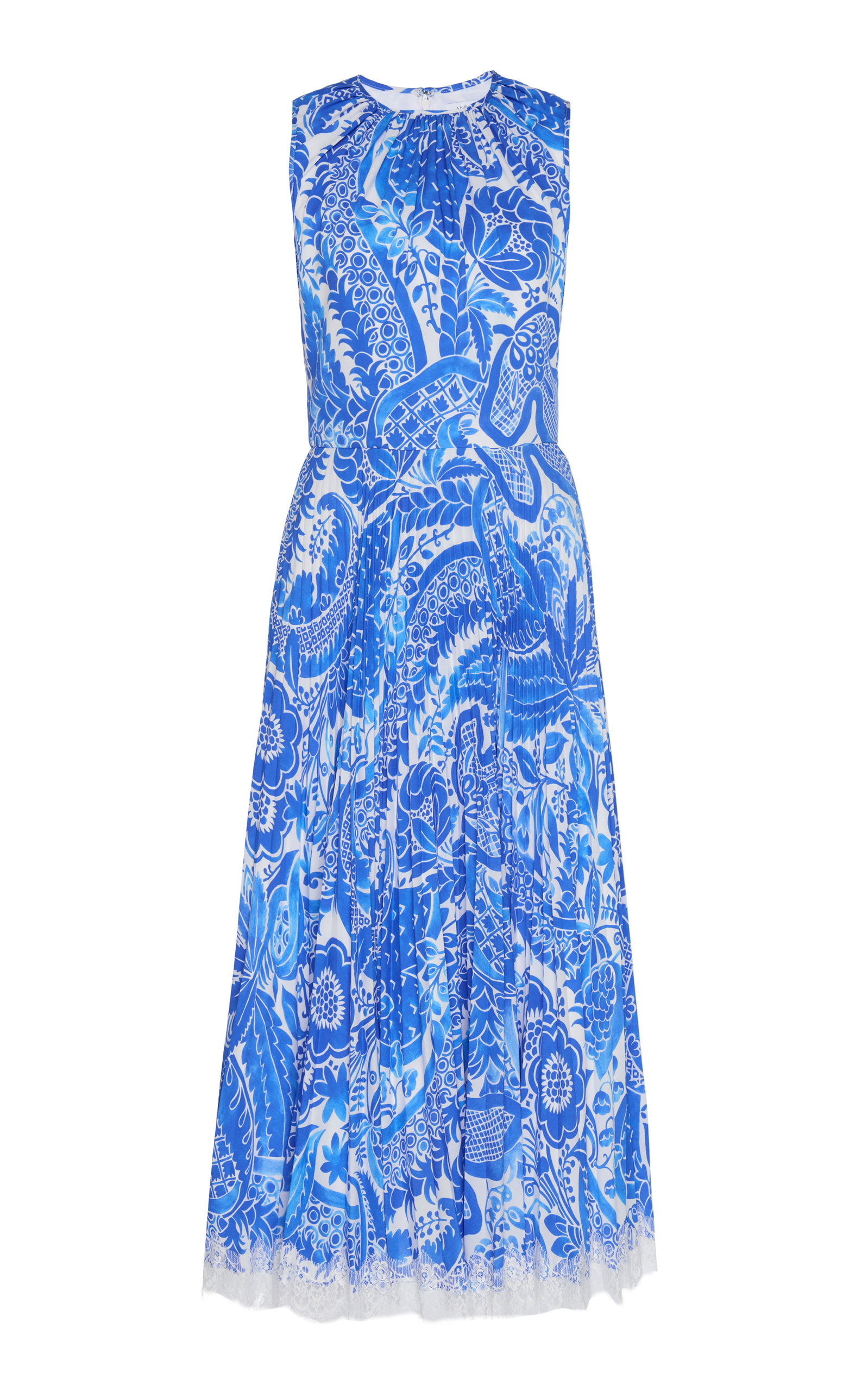 Buy Andrew Gn Paisley-Print Plissé-Silk Midi Dress online, shop Andrew Gn at the best price