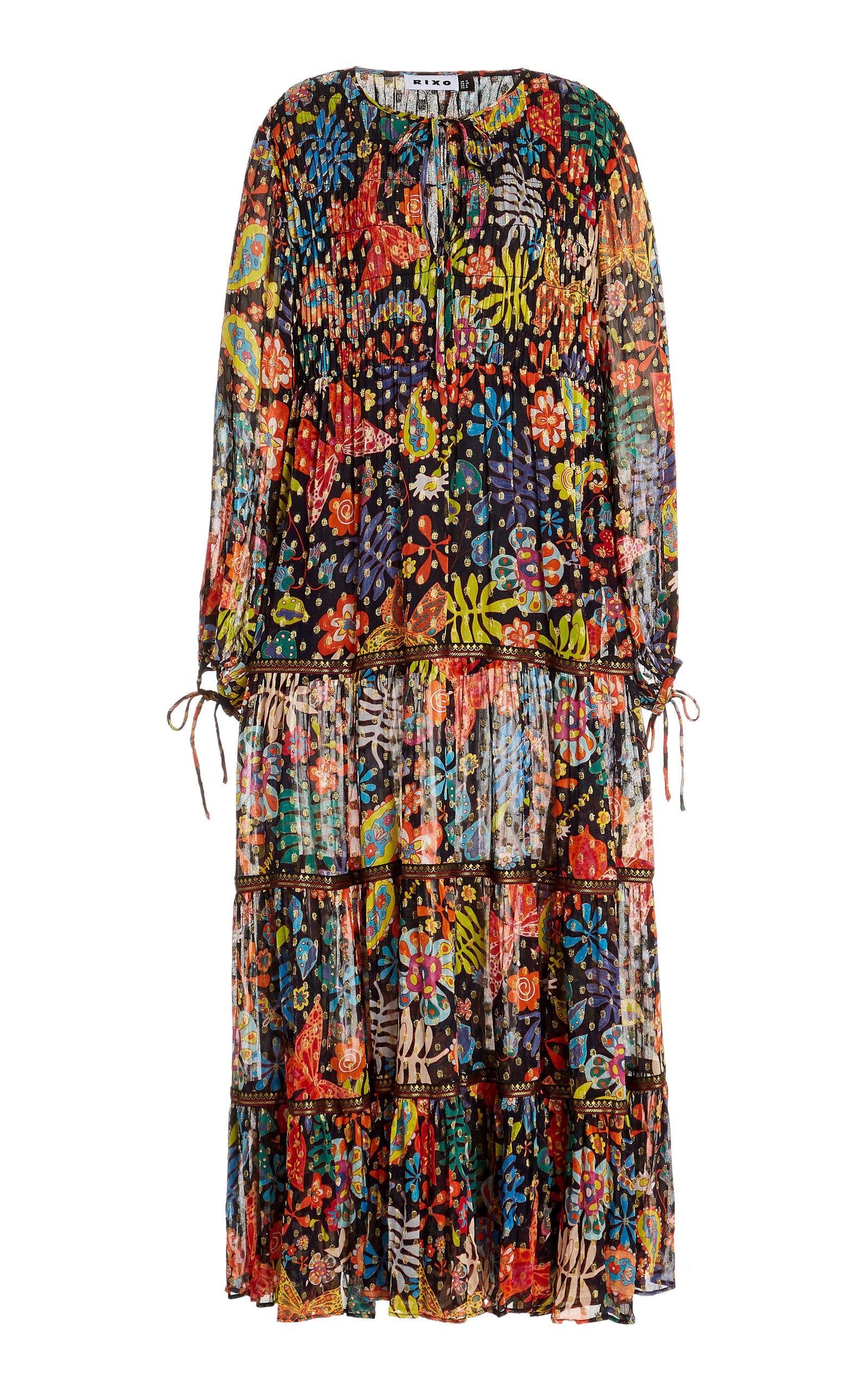 Buy RIXO Lori Floral Plisse Midi Dress online, shop RIXO at the best price