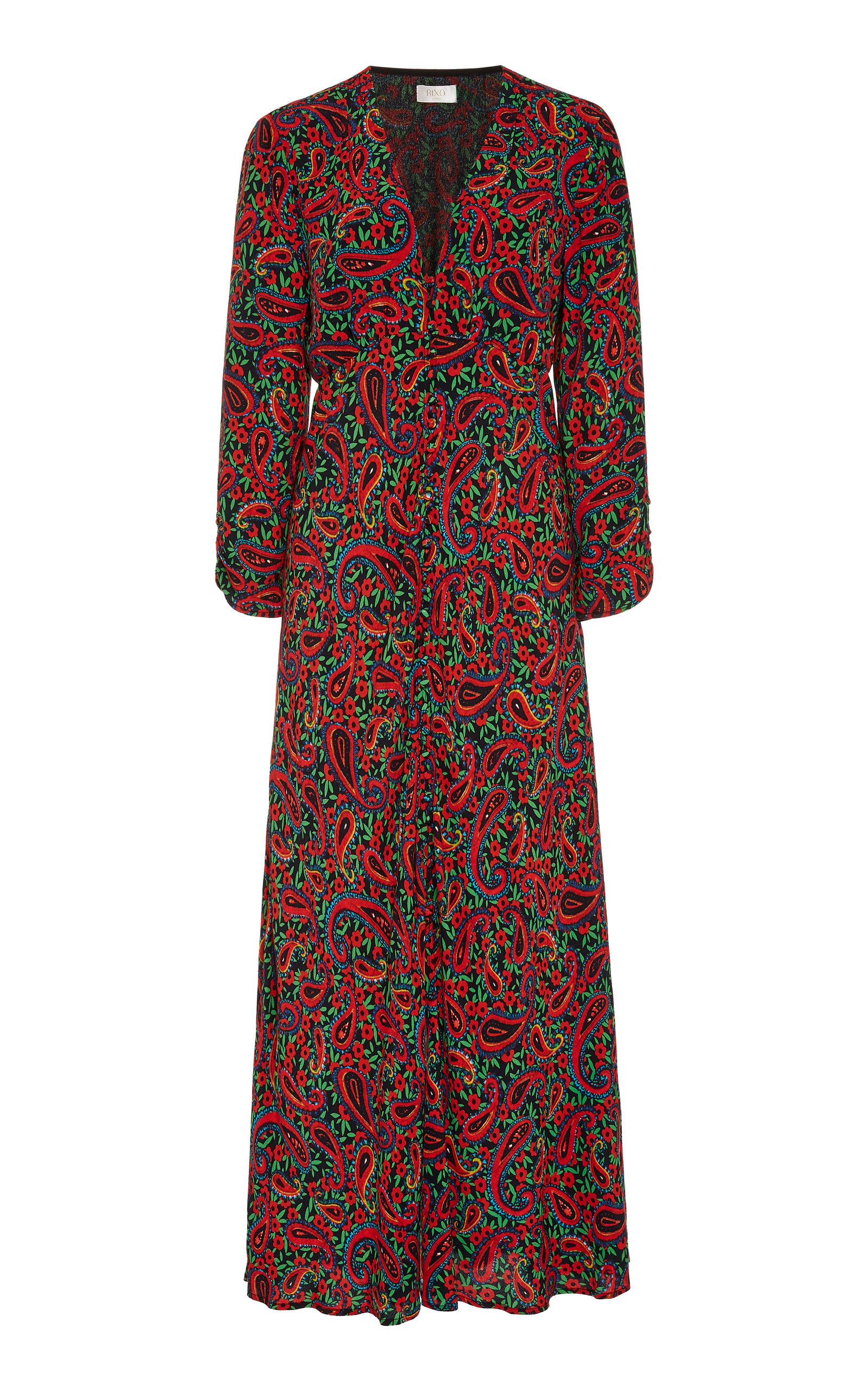 Buy RIXO Katie Paisley Crepe Midi Dress online, shop RIXO at the best price