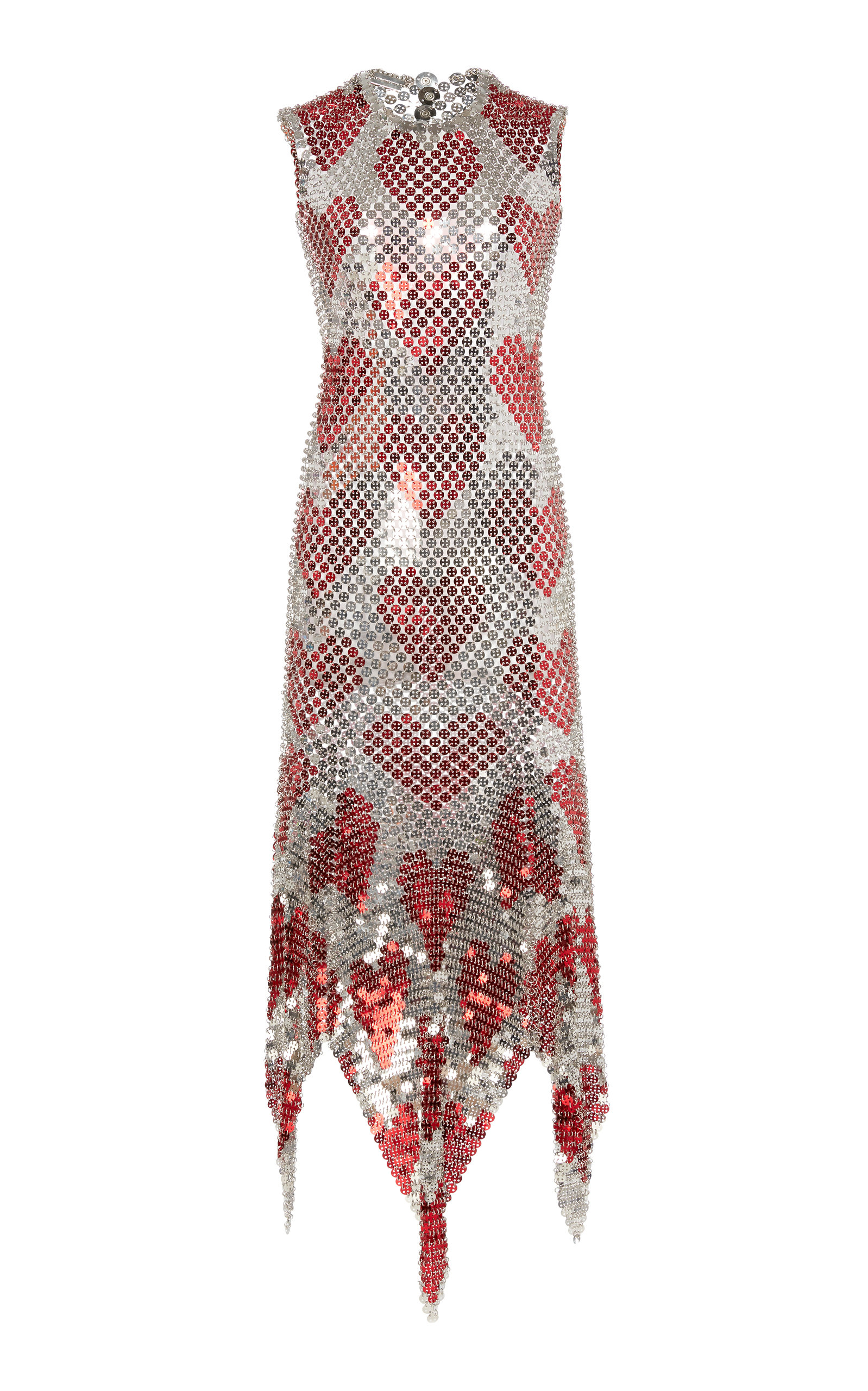 Buy Paco Rabanne Asymmetric Chainmail Midi Dress online, shop Paco Rabanne at the best price