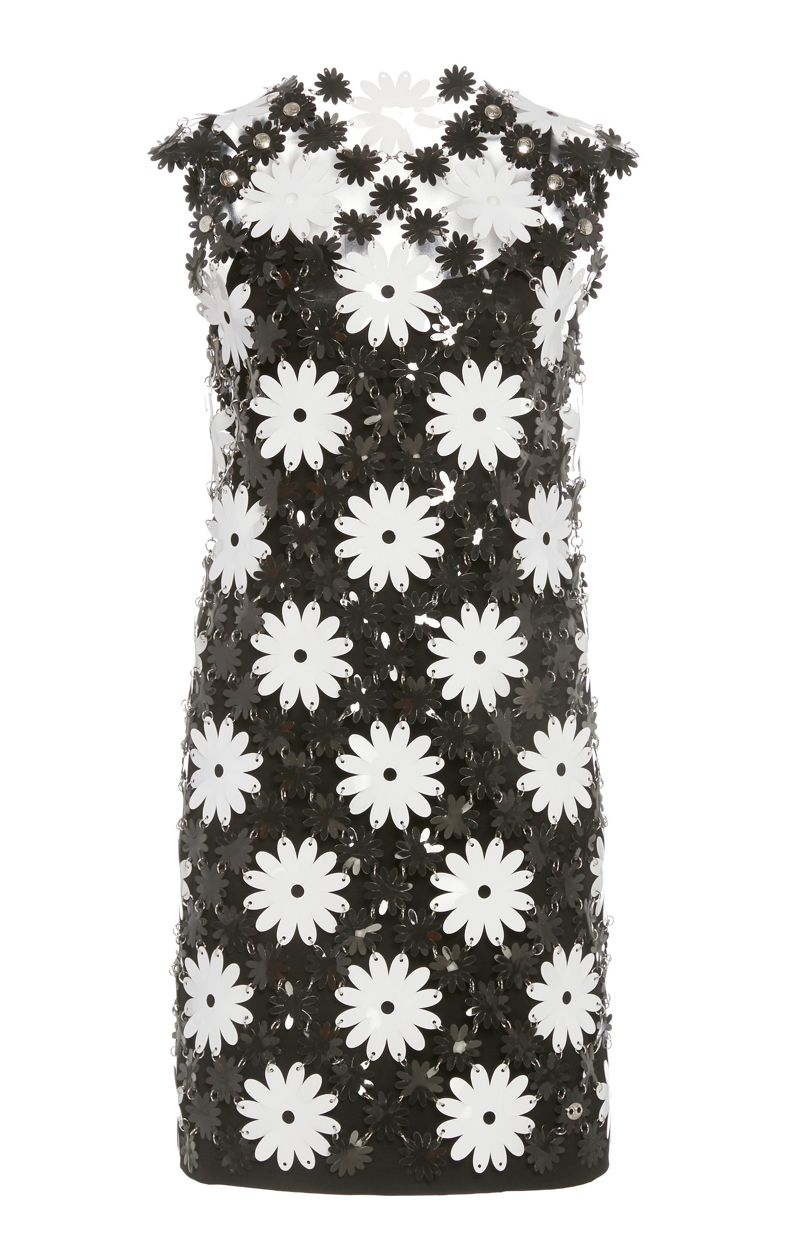 Buy Paco Rabanne Daisy-Motif Chainmail Mini Dress online, shop Paco Rabanne at the best price