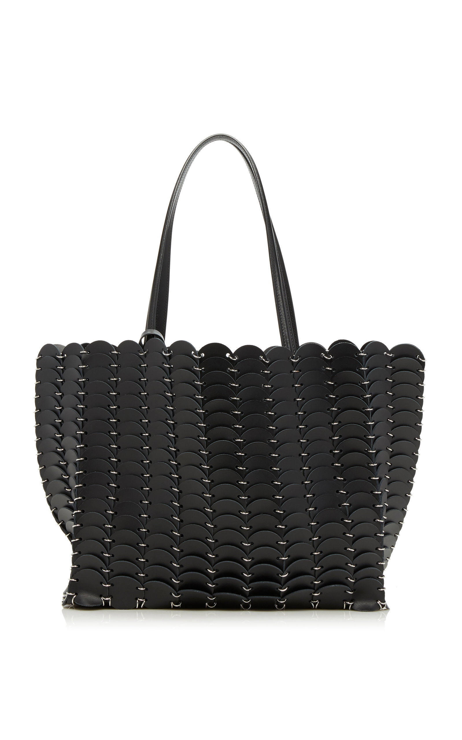 Paco Rabanne CABAS DISC LEATHER TOTE