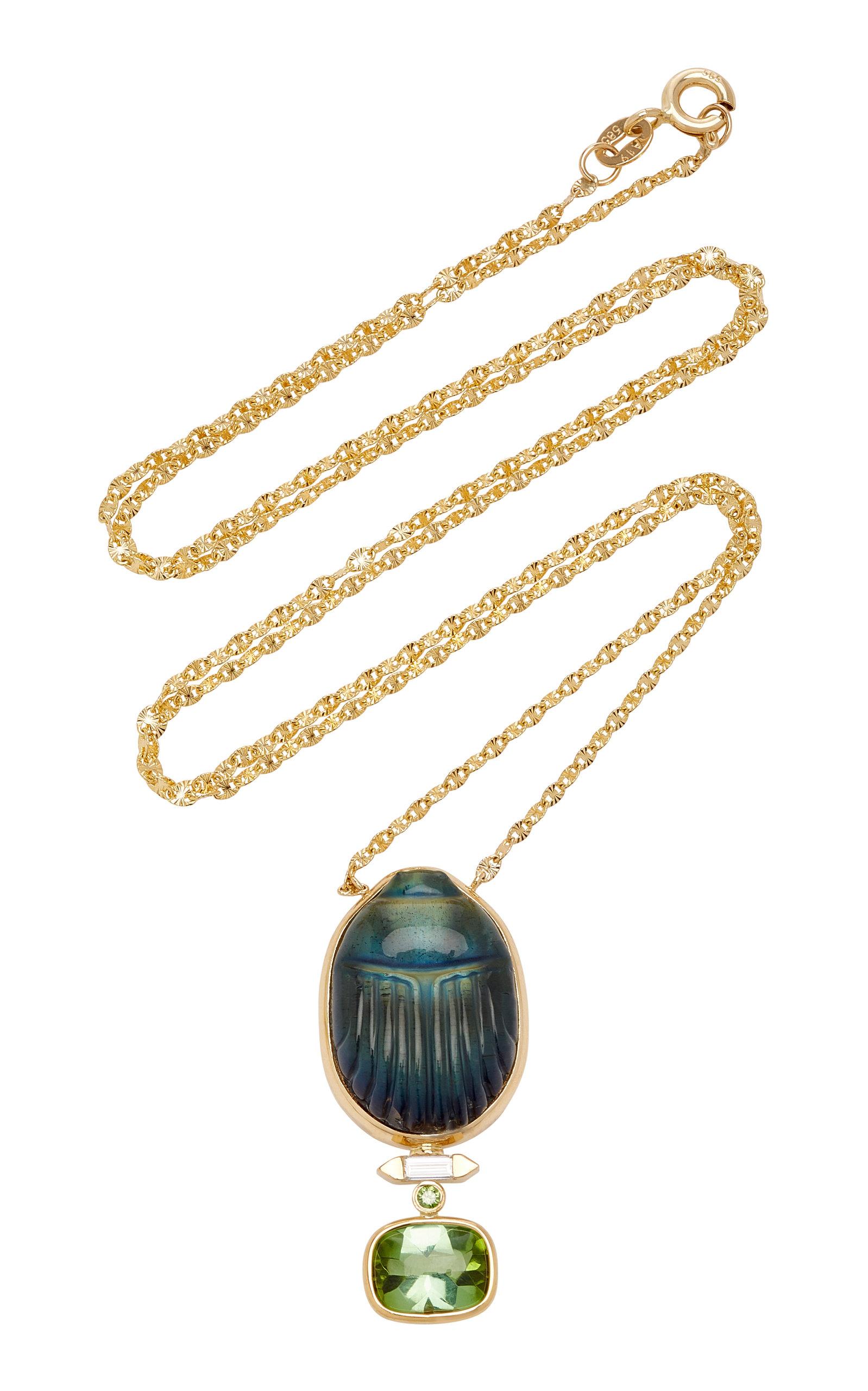 Women's Scarab 14K Yellow-Gold Labradorite Pendant Necklace