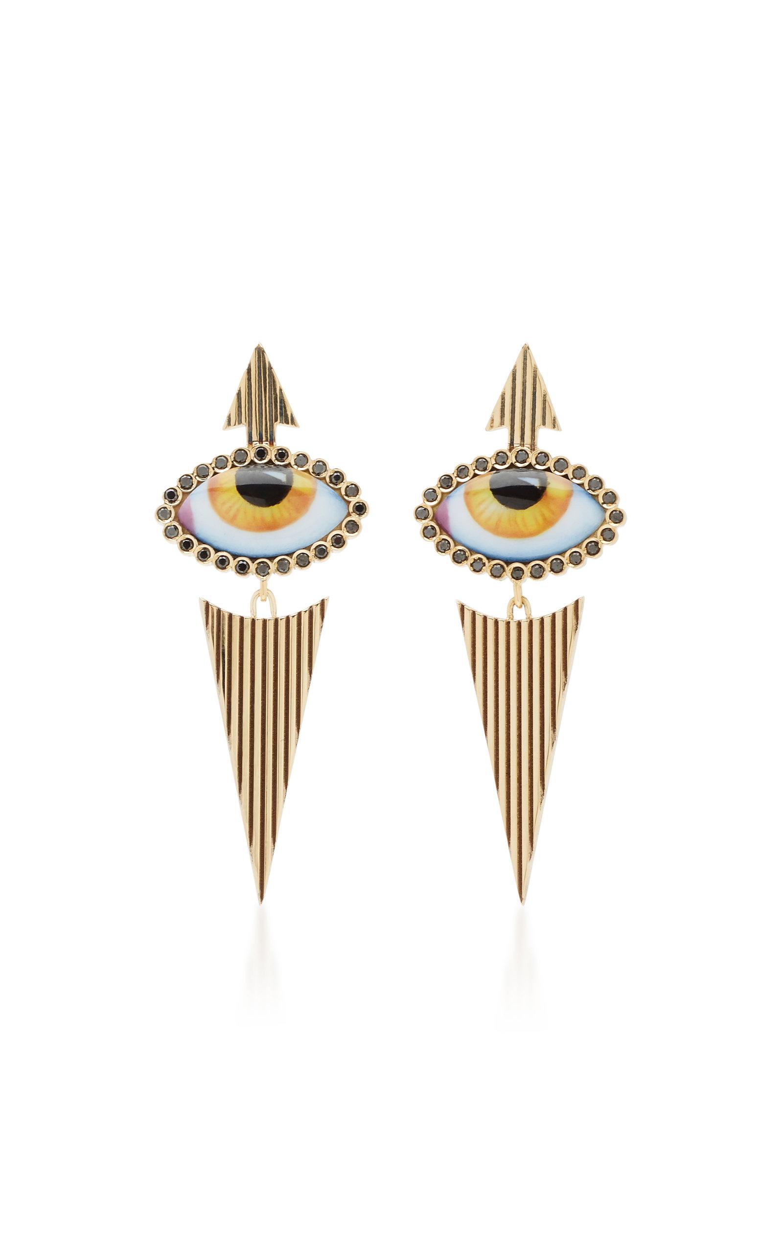 Women's 14K Yellow-Gold and Diamond Eye Earrings