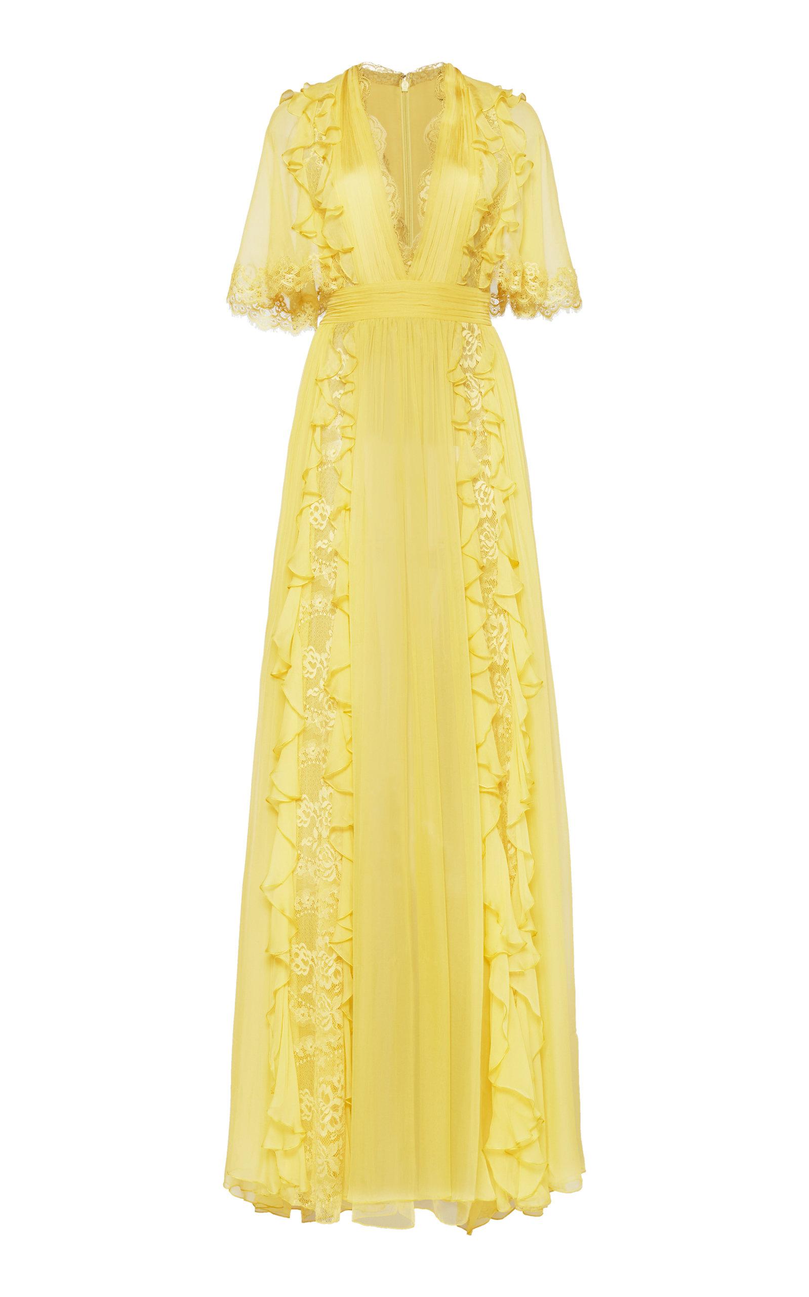 Buy Zuhair Murad Ruffled Lace-Detailed Silk Dress online, shop Zuhair Murad at the best price