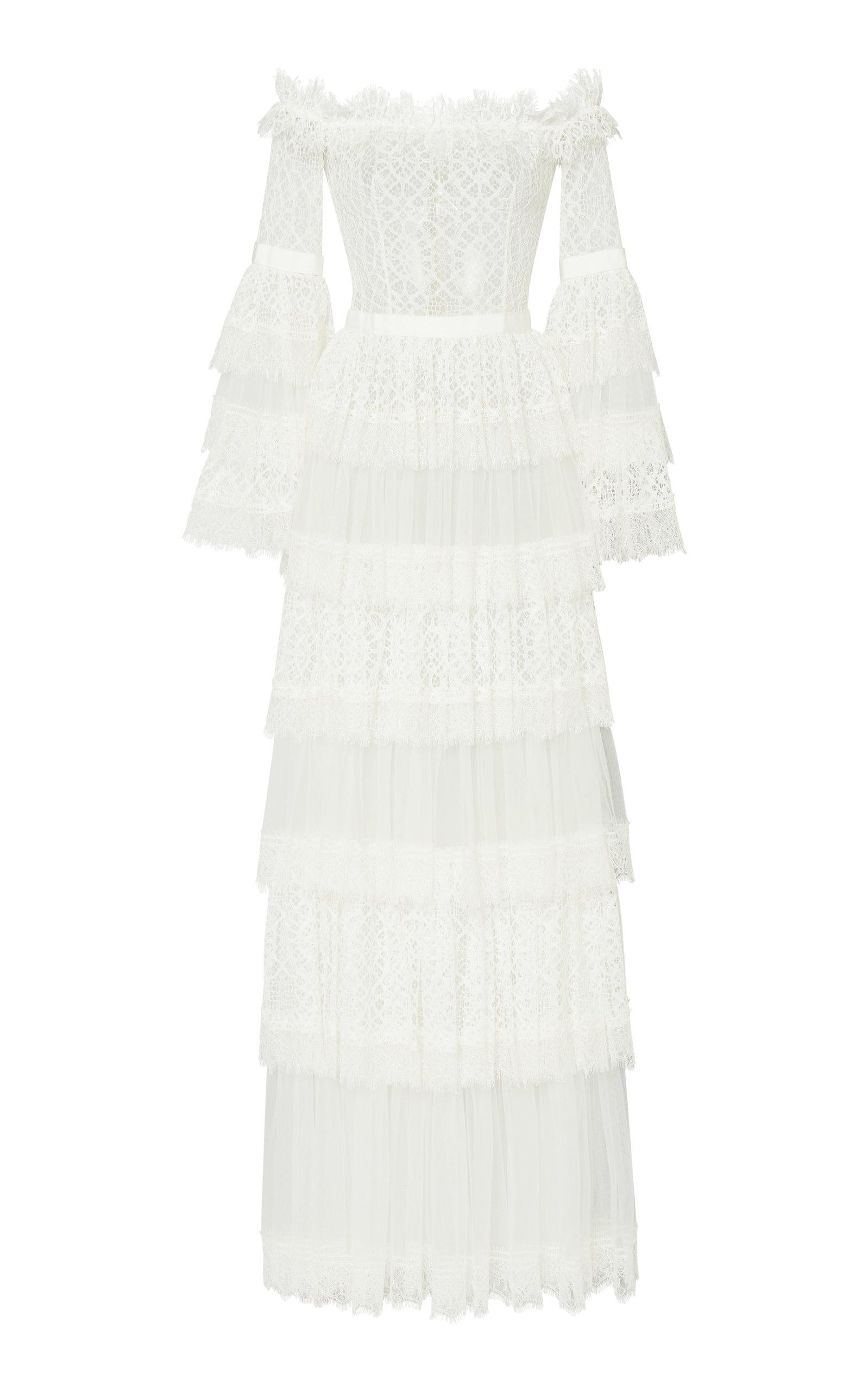 Buy Zuhair Murad Off-The-Shoulder Chantilly Lace Dress online, shop Zuhair Murad at the best price