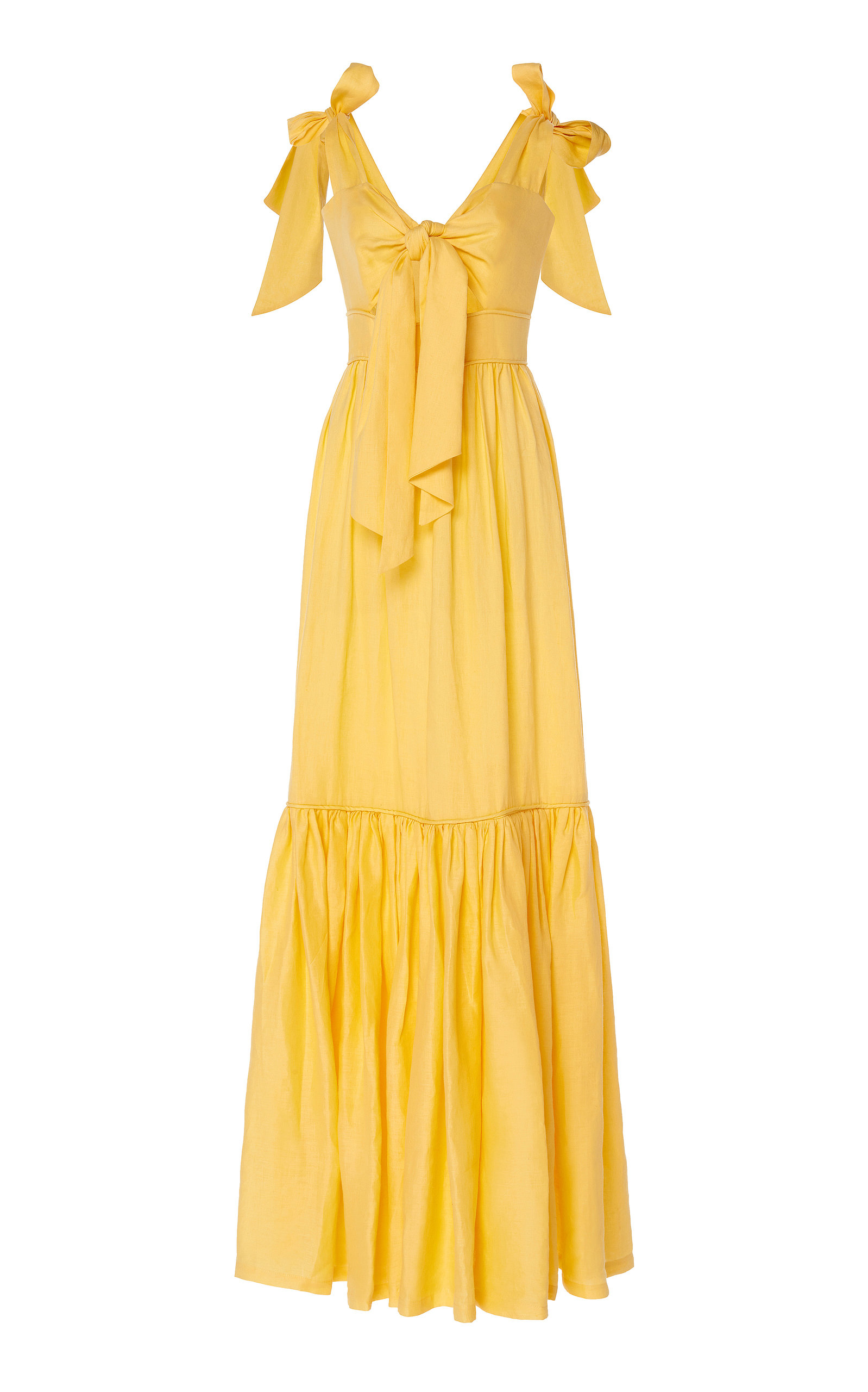 Buy Costarellos Tie-Front Cut-Out Linen Maxi Dress online, shop Costarellos at the best price