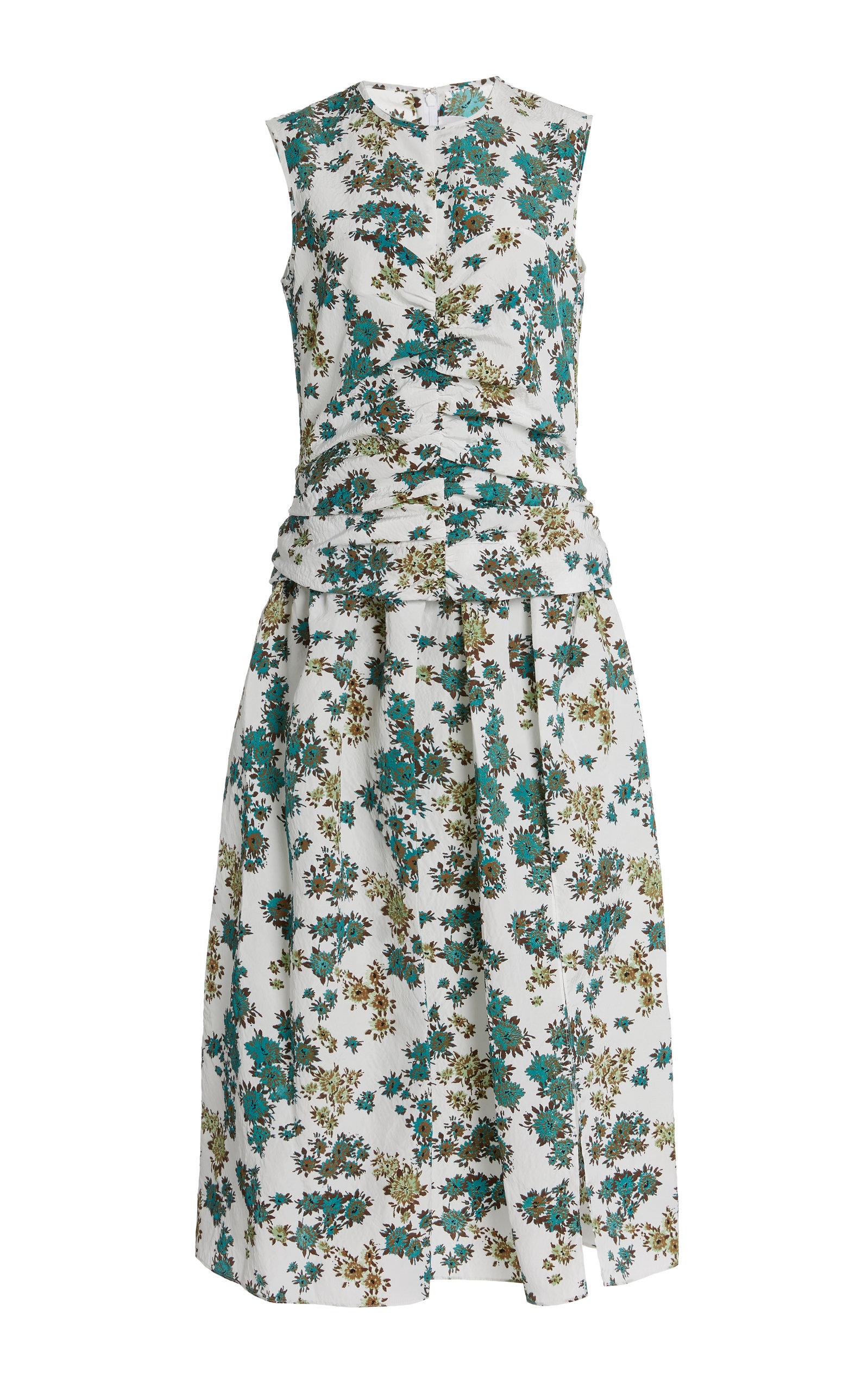 Buy Victoria Victoria Beckham Ruched Floral-Print Cloque Midi Dress online, shop Victoria Victoria Beckham at the best price