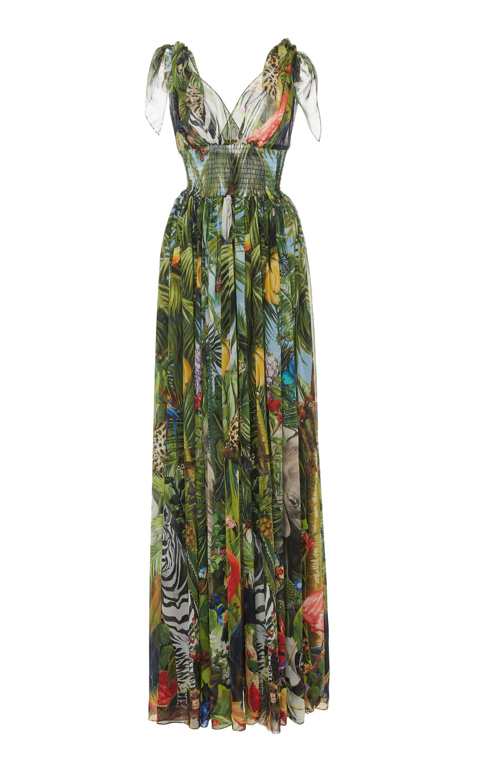 Buy Dolce & Gabbana Smocked Printed Silk-Chiffon Maxi Dress online, shop Dolce & Gabbana at the best price