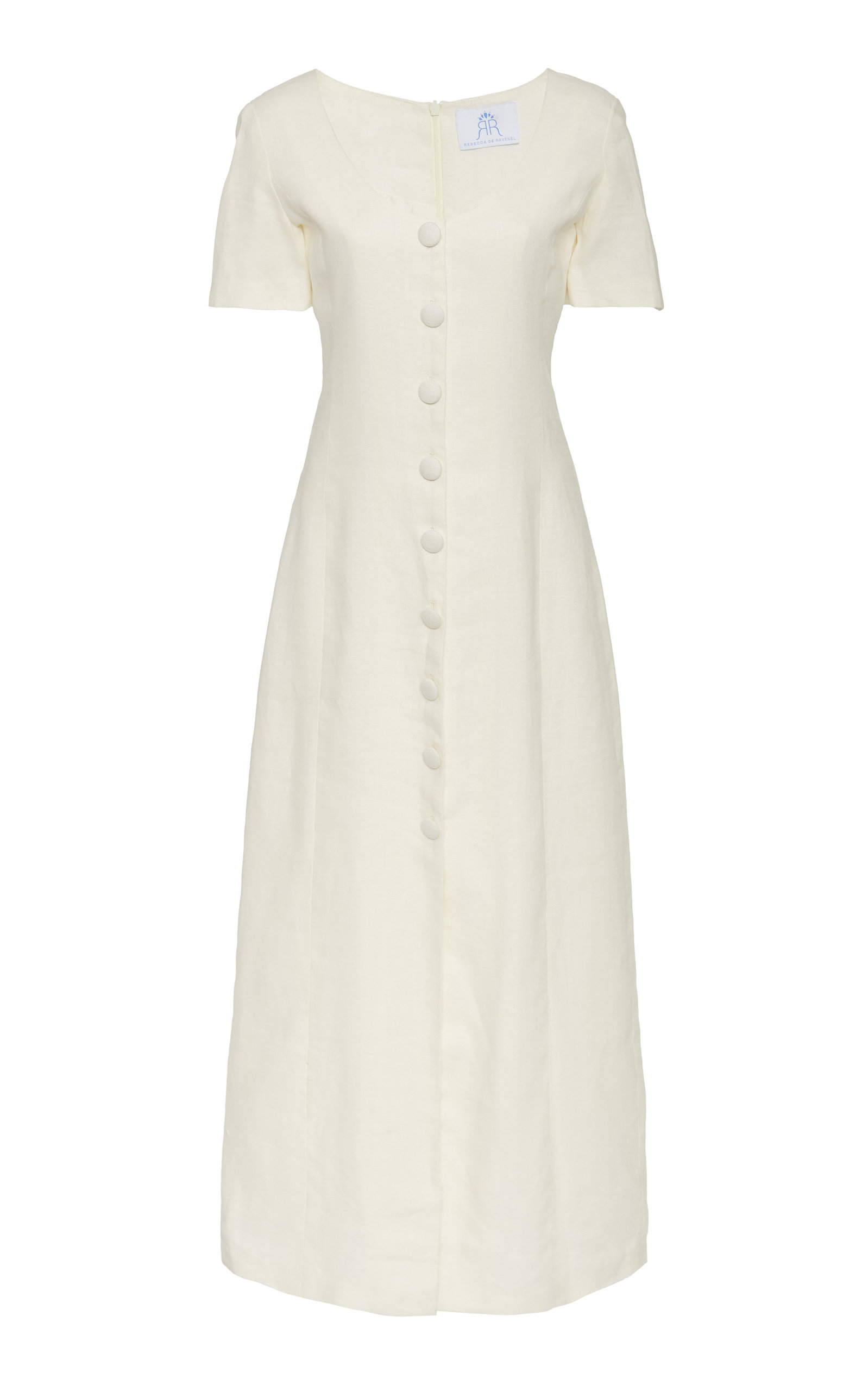 Buy Rebecca de Ravenel Lots Of Love Button-Front Linen Midi Dress online, shop Rebecca de Ravenel at the best price
