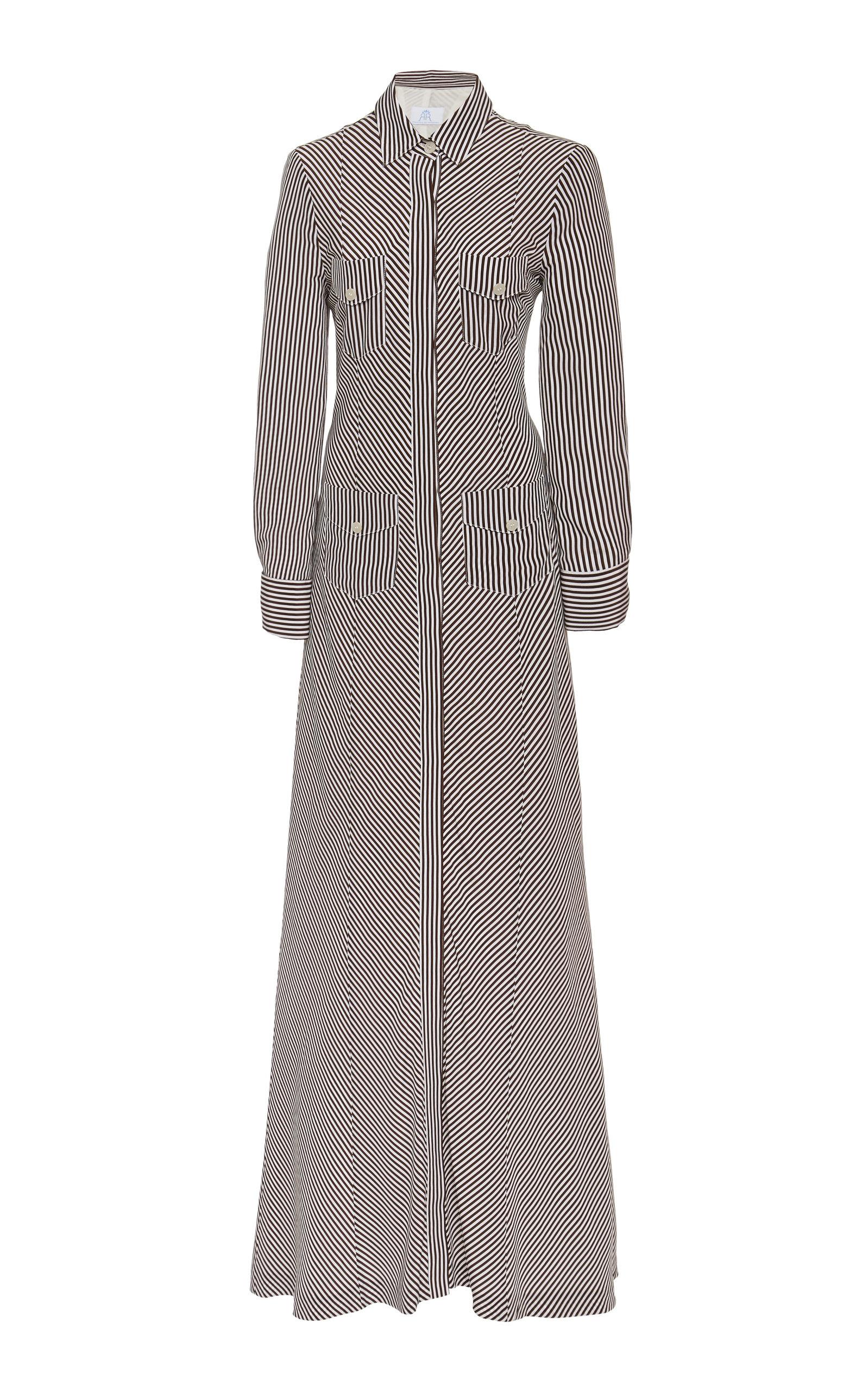 Buy Rebecca de Ravenel Bias-Paneled Striped Silk Shirt Dress online, shop Rebecca de Ravenel at the best price