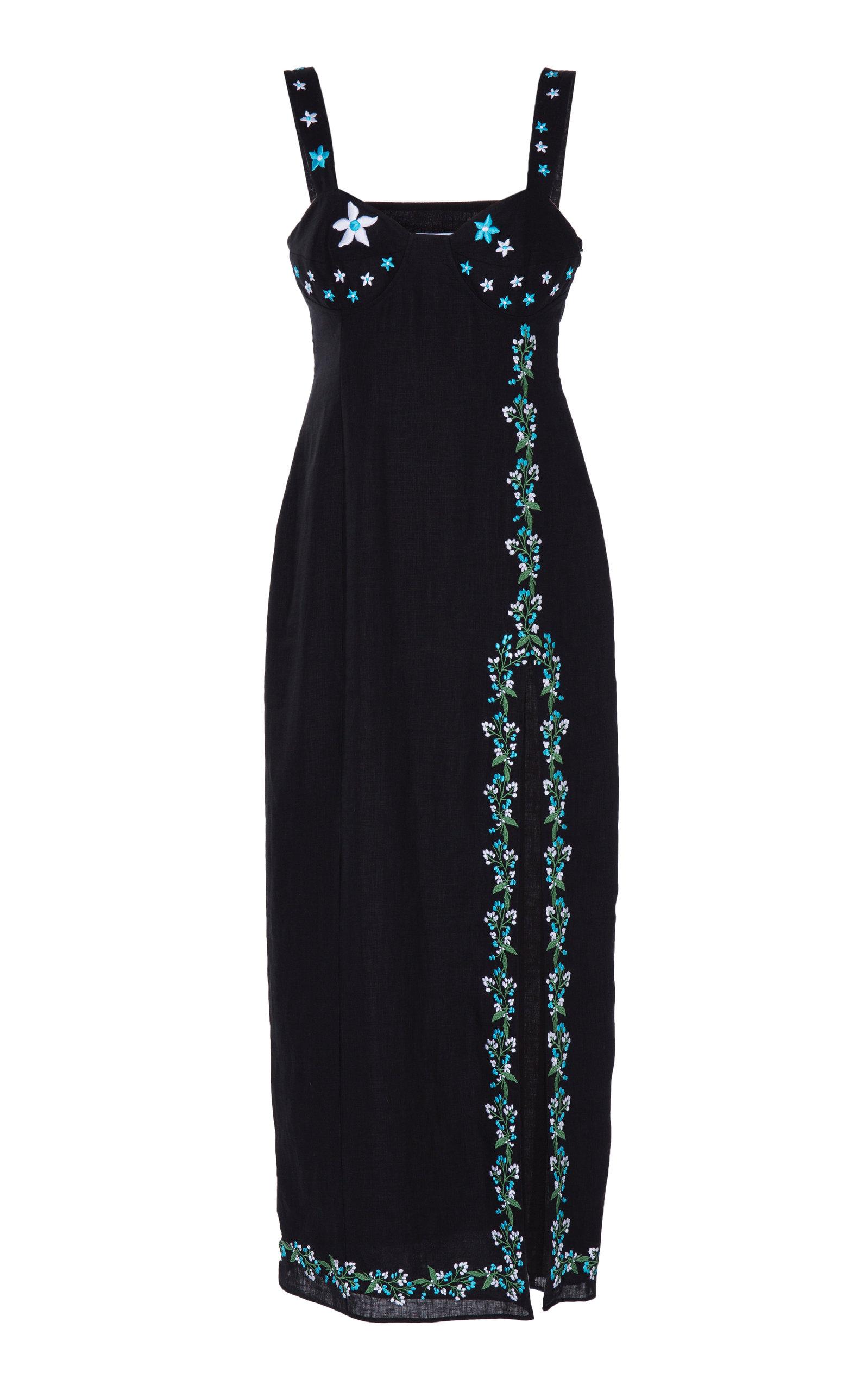 Buy Gül Hürgel Side-Slit Linen Midi Dress online, shop Gül Hürgel at the best price
