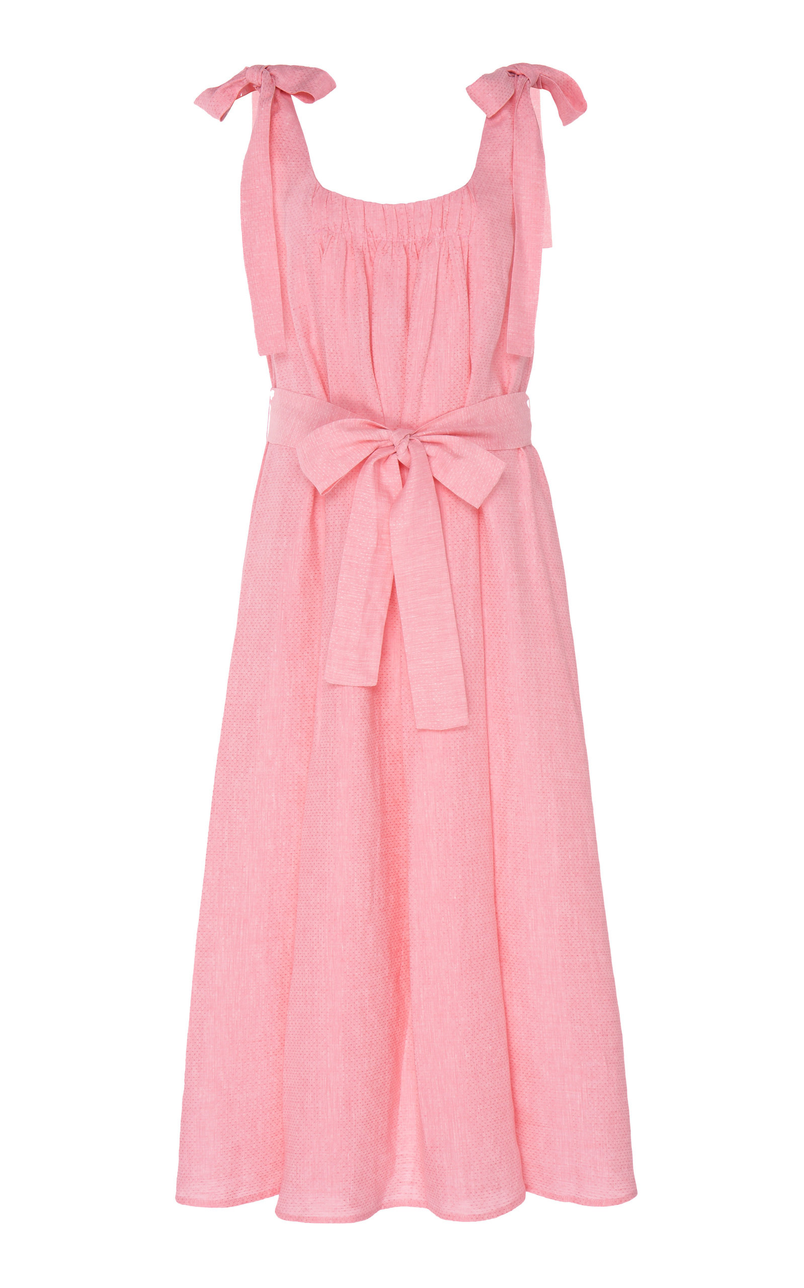 Buy Gül Hürgel Tie-Detailed Linen Midi Dress online, shop Gül Hürgel at the best price