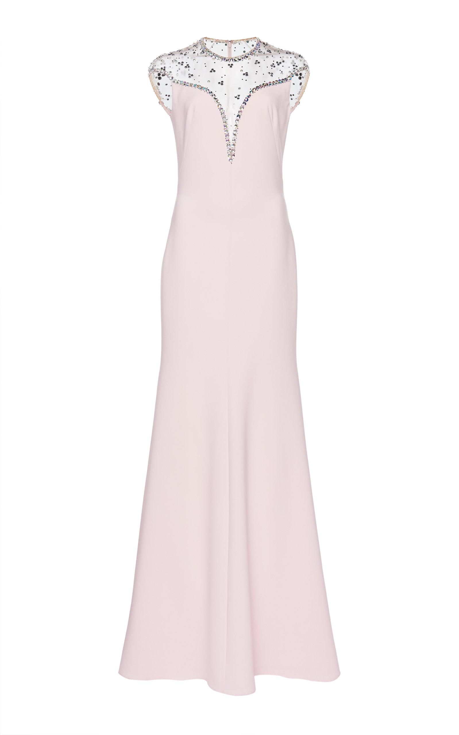 Buy Jenny Packham Illusion Neckline Embellished Satin Dress online, shop Jenny Packham at the best price