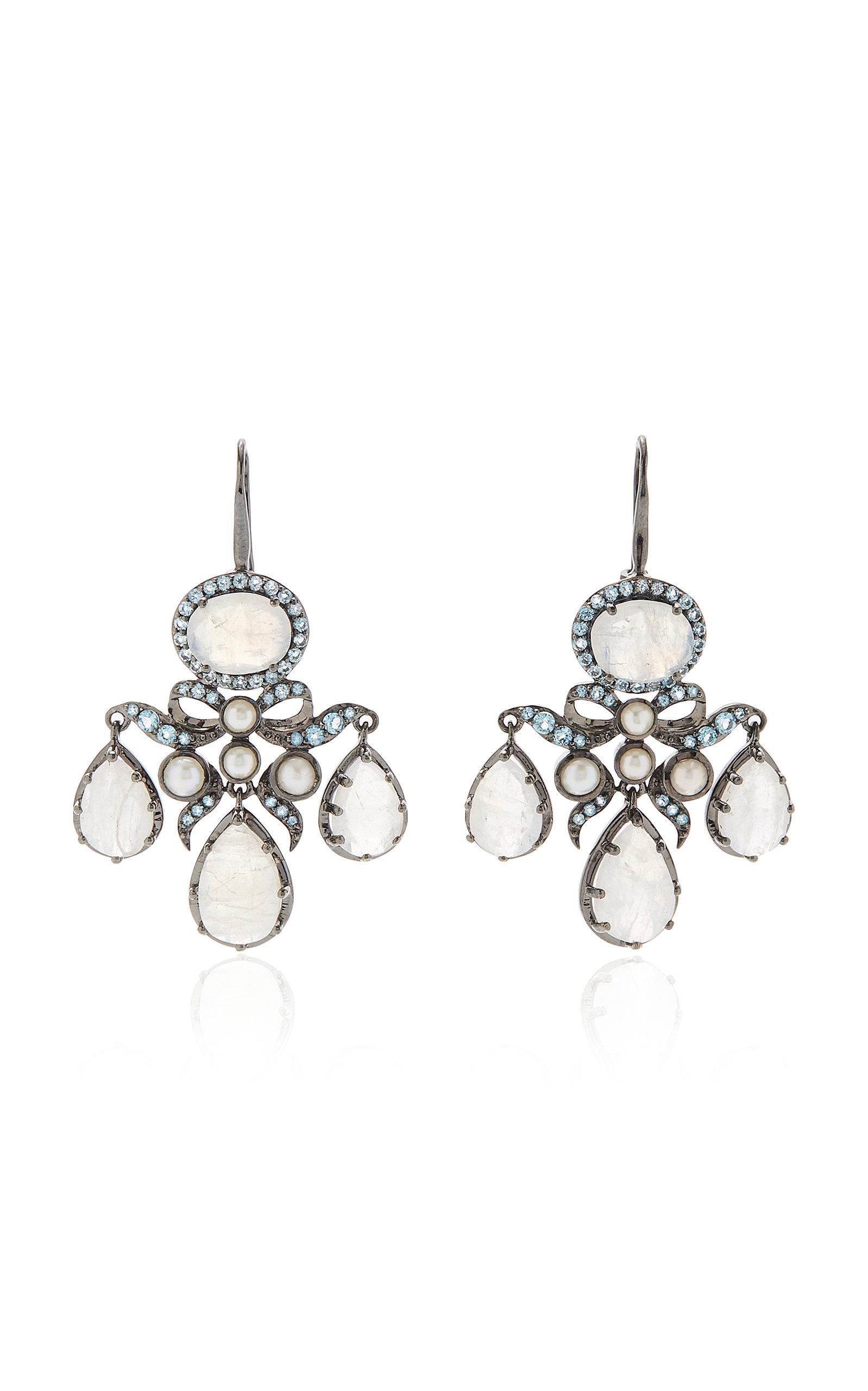 Women's Medora Girandole 14K White Gold And Multi-Stone Earrings