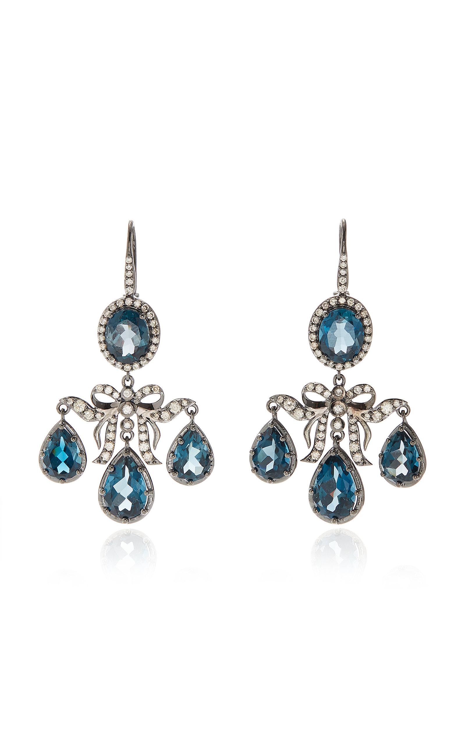 Women's Medora Girandole 14K White Gold; Topaz And Diamond Earrings