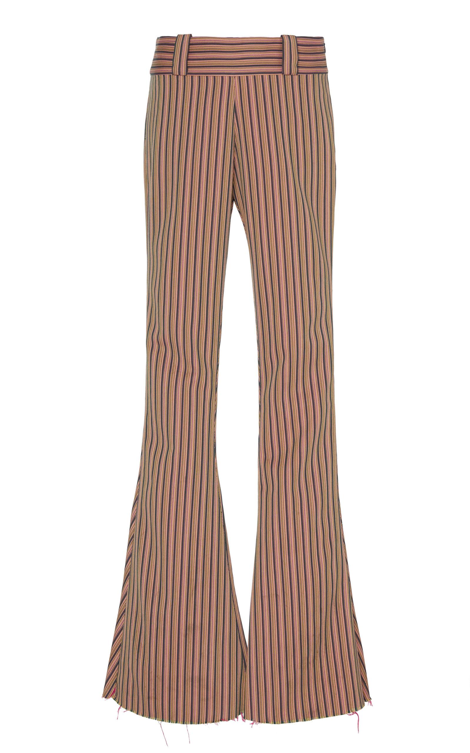 Alix of Bohemia - Women's Carnaby Striped Cotton Flared Pants  - Purple - Moda Operandi