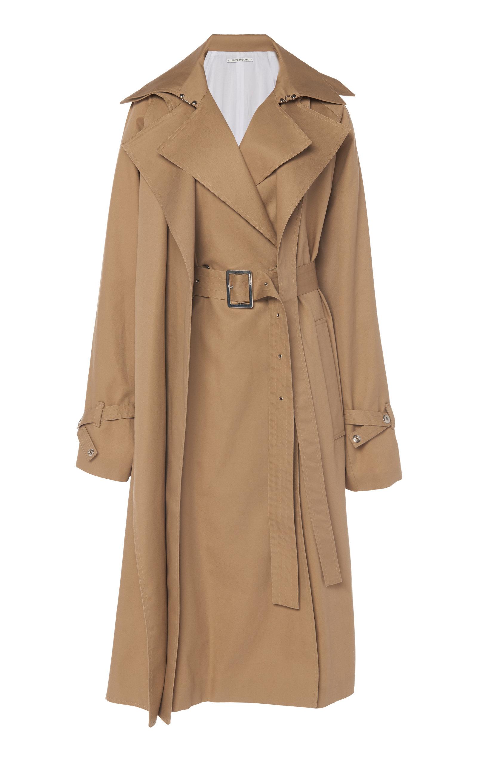 Women's Belted Cotton-Blend Gabardine Trench Coat