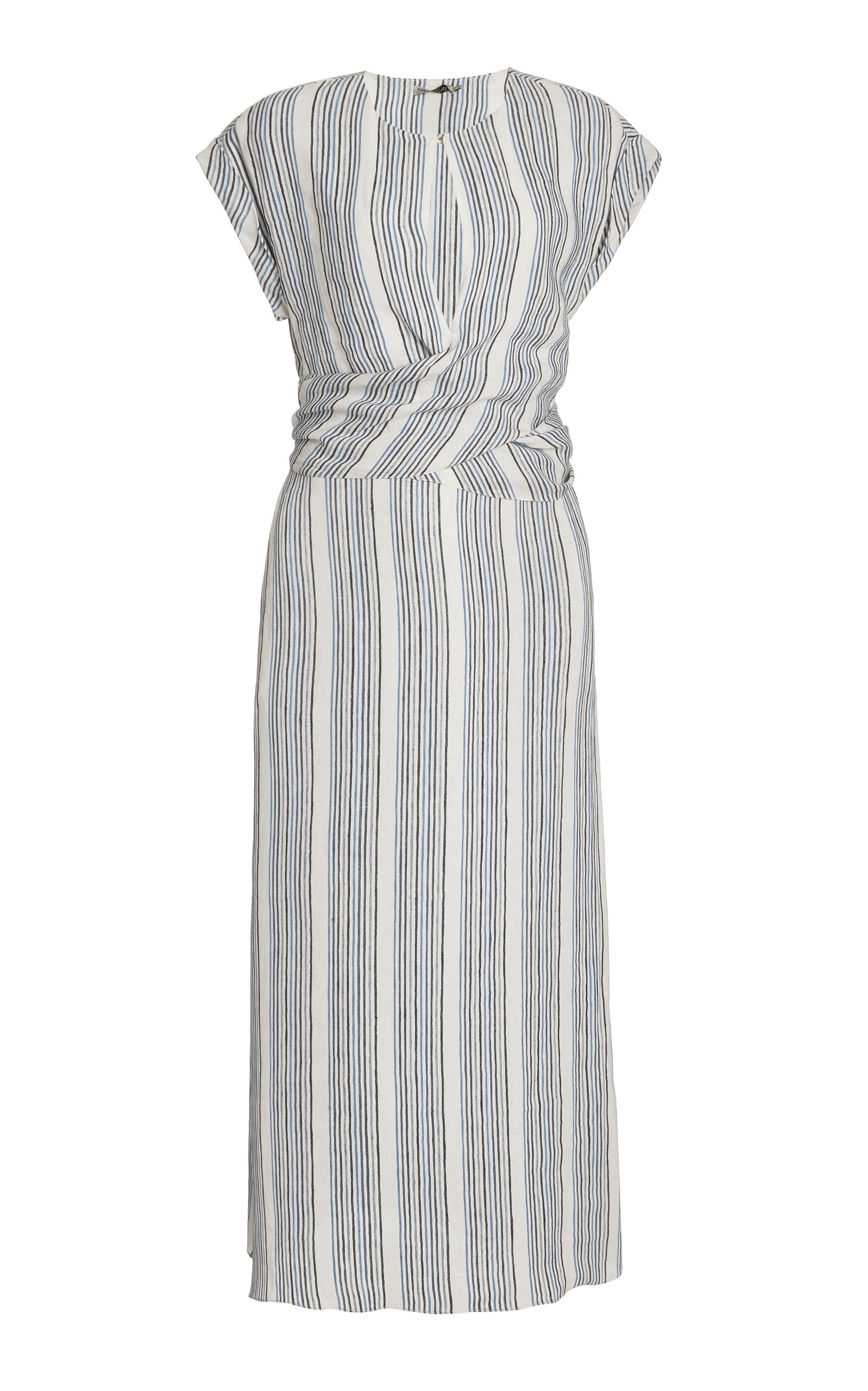 Buy Three Graces London Tilde Striped Linen Dress online, shop Three Graces London at the best price