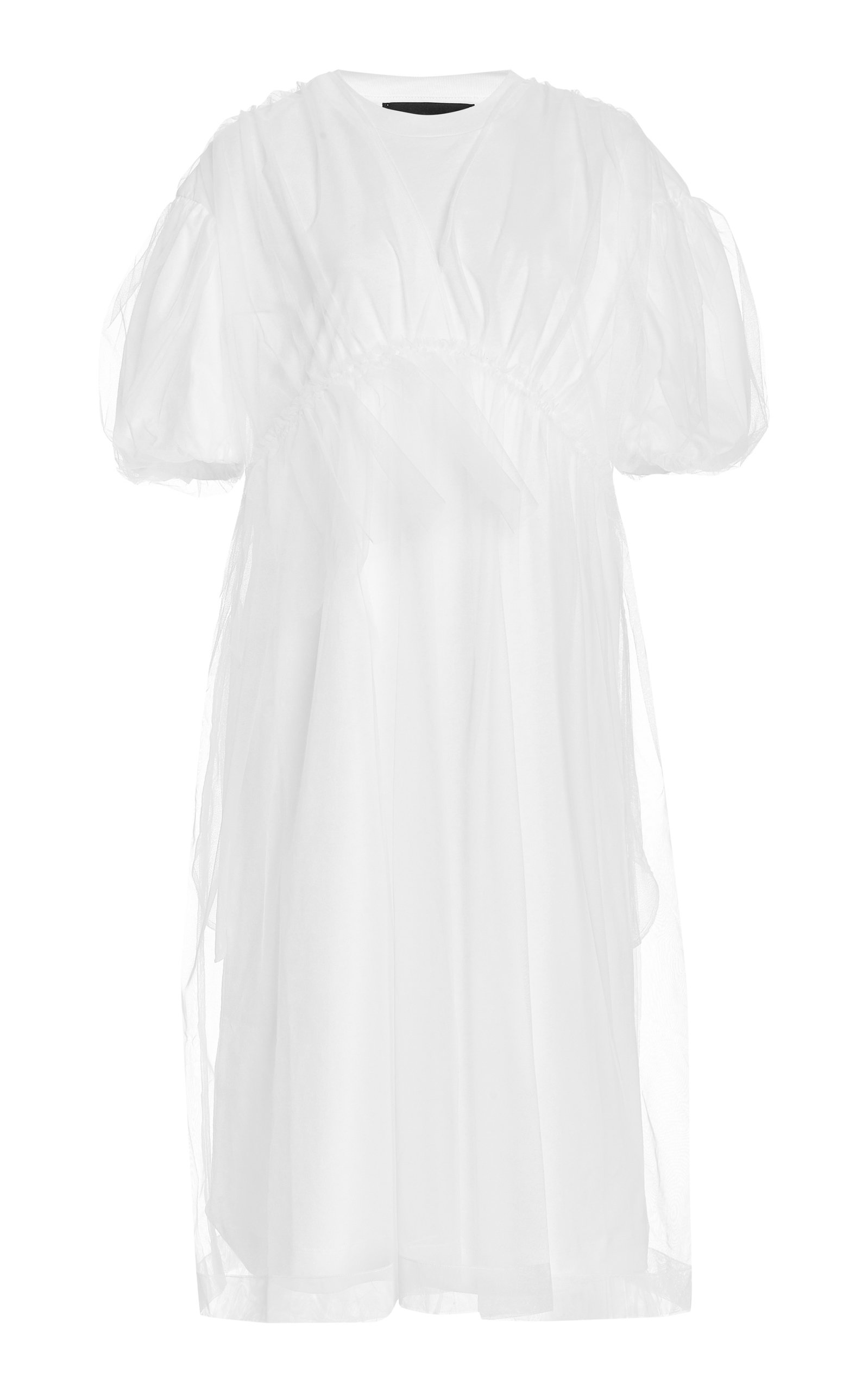 Buy Simone Rocha Tulle-Overlay Cotton Puff-Sleeve Babydoll T-Shirt Dress online, shop Simone Rocha at the best price
