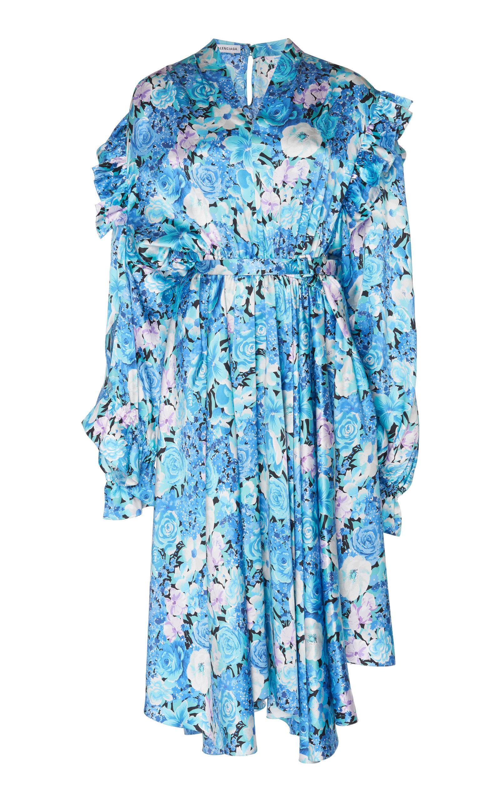 Buy Balenciaga Asymmetric Floral Silk Satin Midi Dress online, shop Balenciaga at the best price