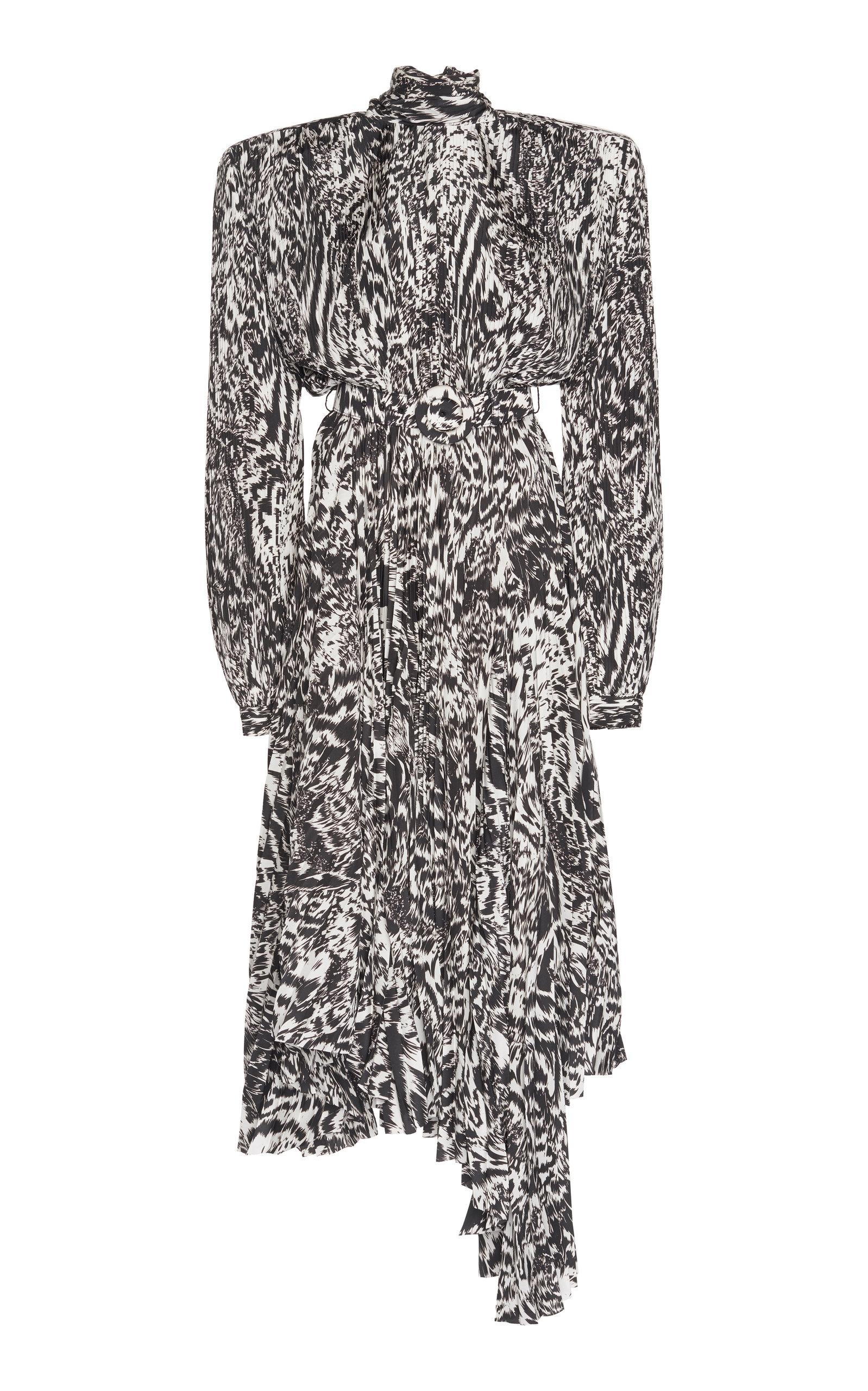 Buy Balenciaga Dynasty Animal-Print Draped Crepe Midi Dress online, shop Balenciaga at the best price