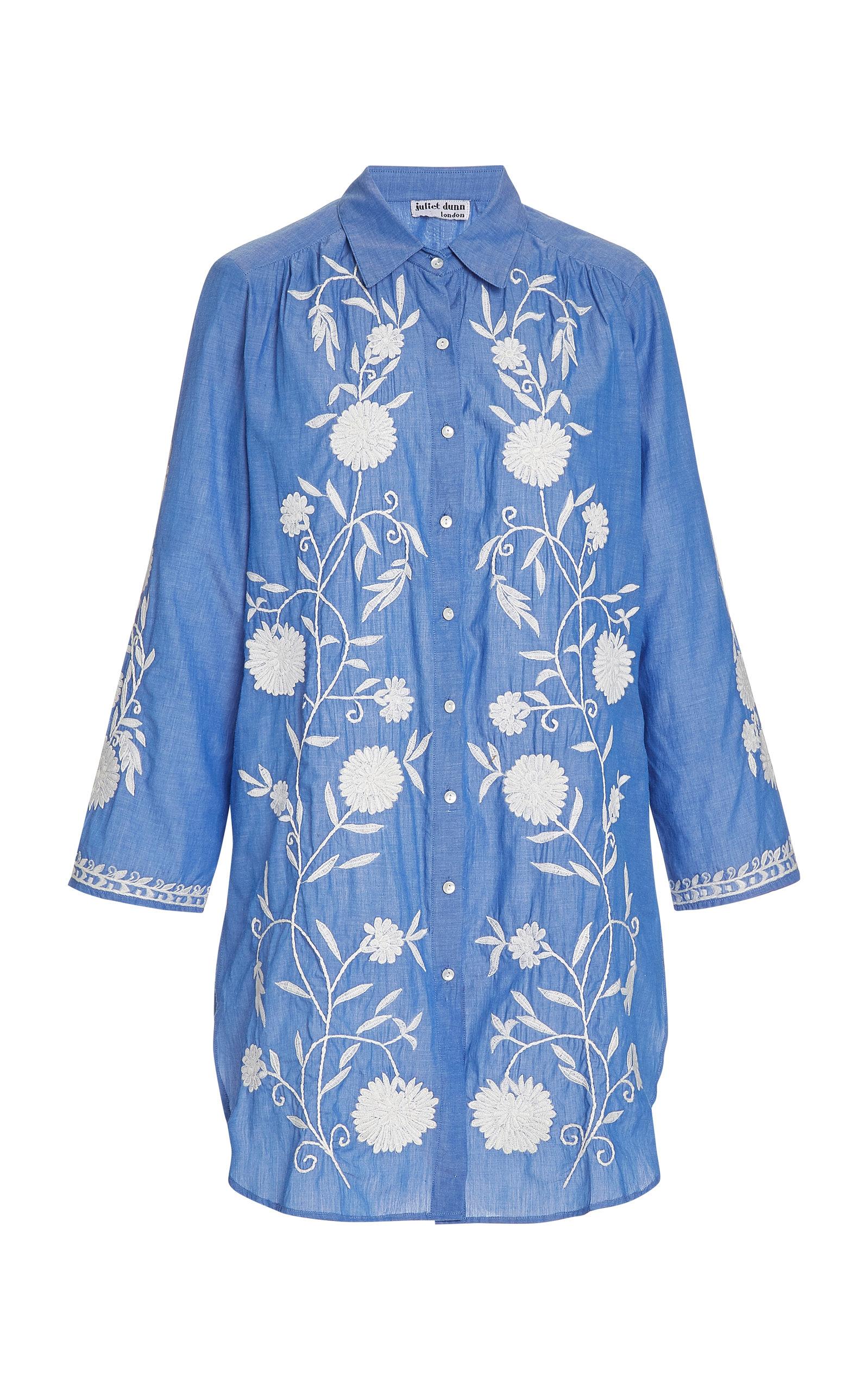 Buy Juliet Dunn Floral-Embroidered Cotton Chambray Shirt Dress online, shop Juliet Dunn at the best price