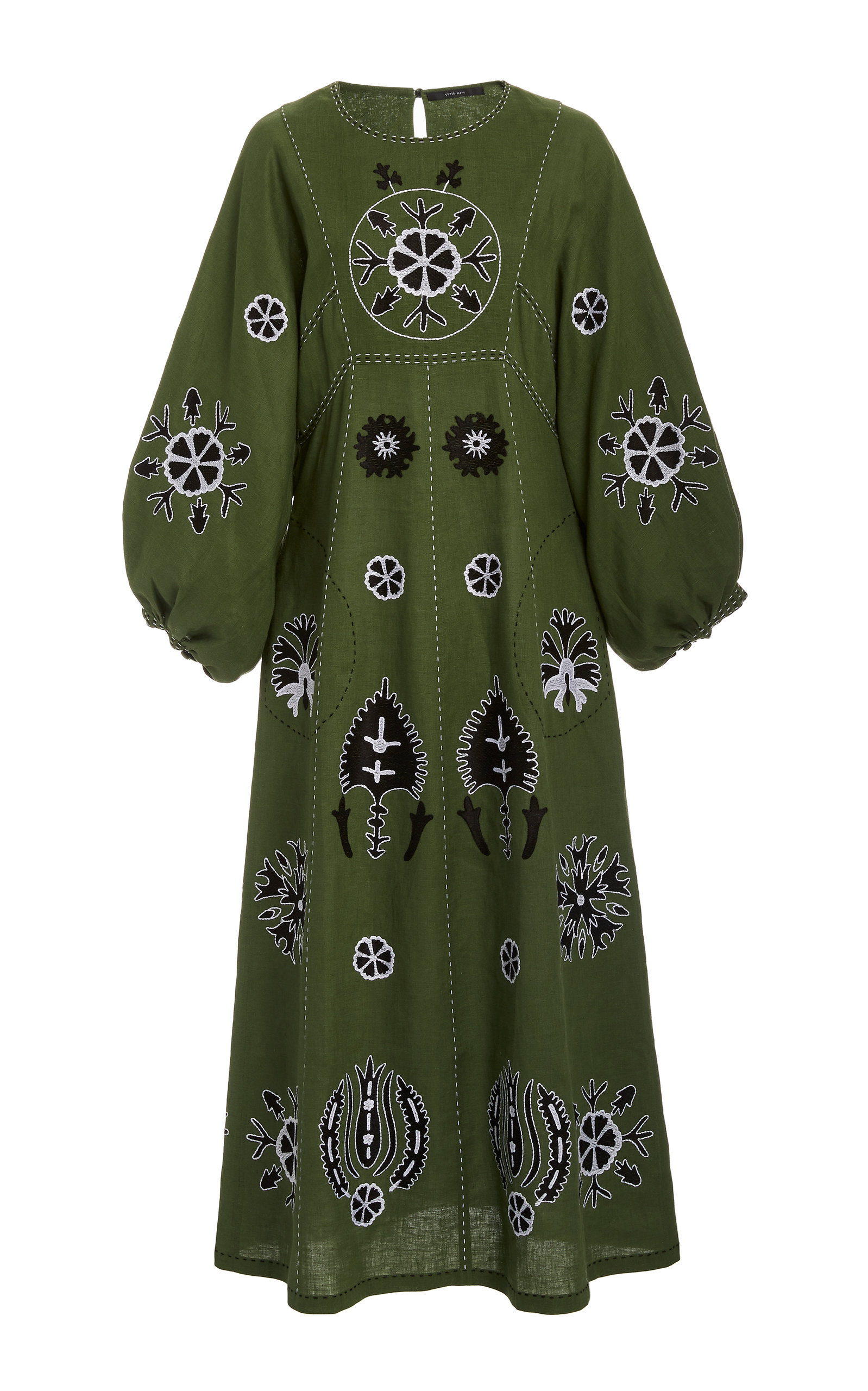 Buy Vita Kin Jasmine Embroidered Linen Midi Dress online, shop Vita Kin at the best price
