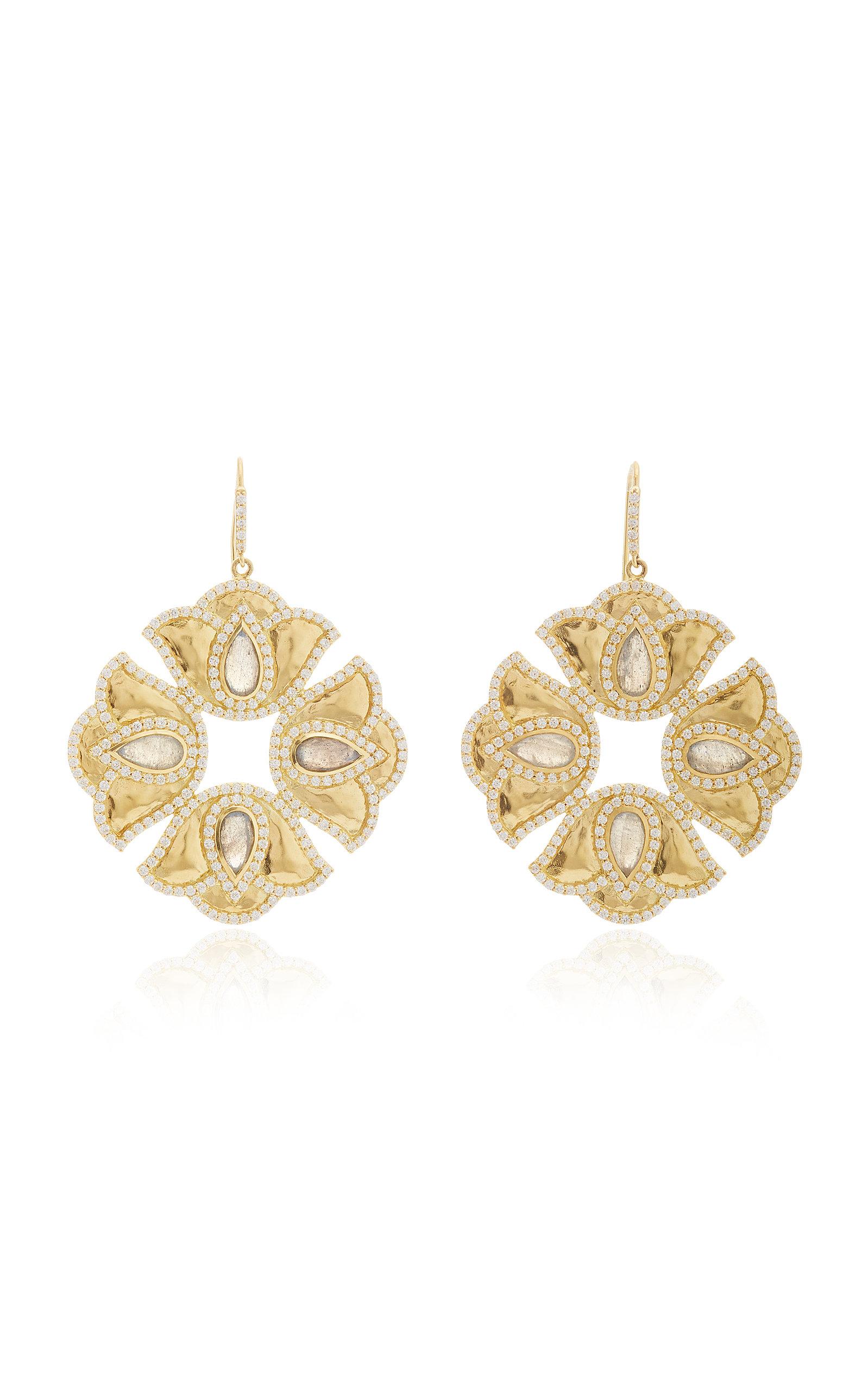 Women's Kaliyana Lotus 18K Gold; Labradorite And Diamond Earrings