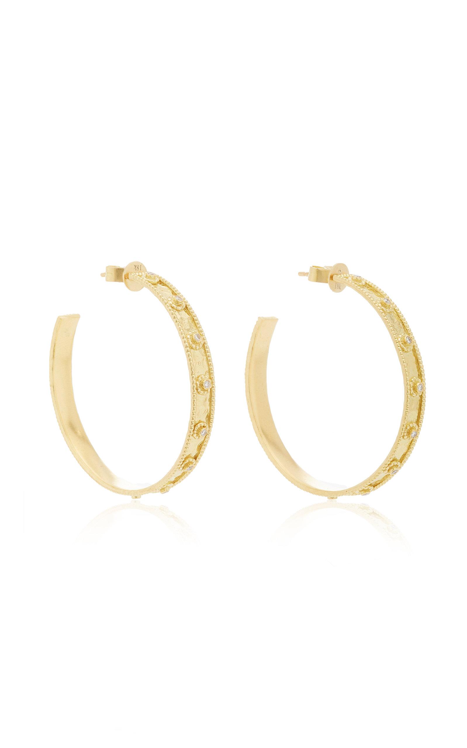 Women's Revati 18K Gold And Diamond Hoop Earrings