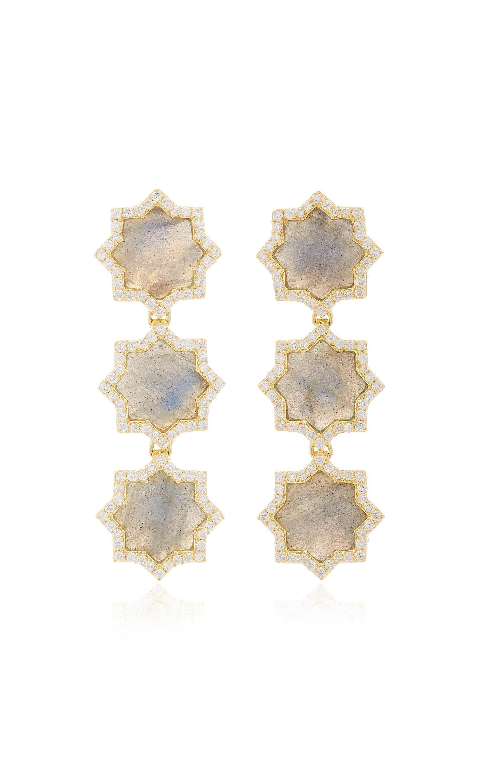 Women's Triple Star 18K Gold; Labradorite And Diamond Earrings
