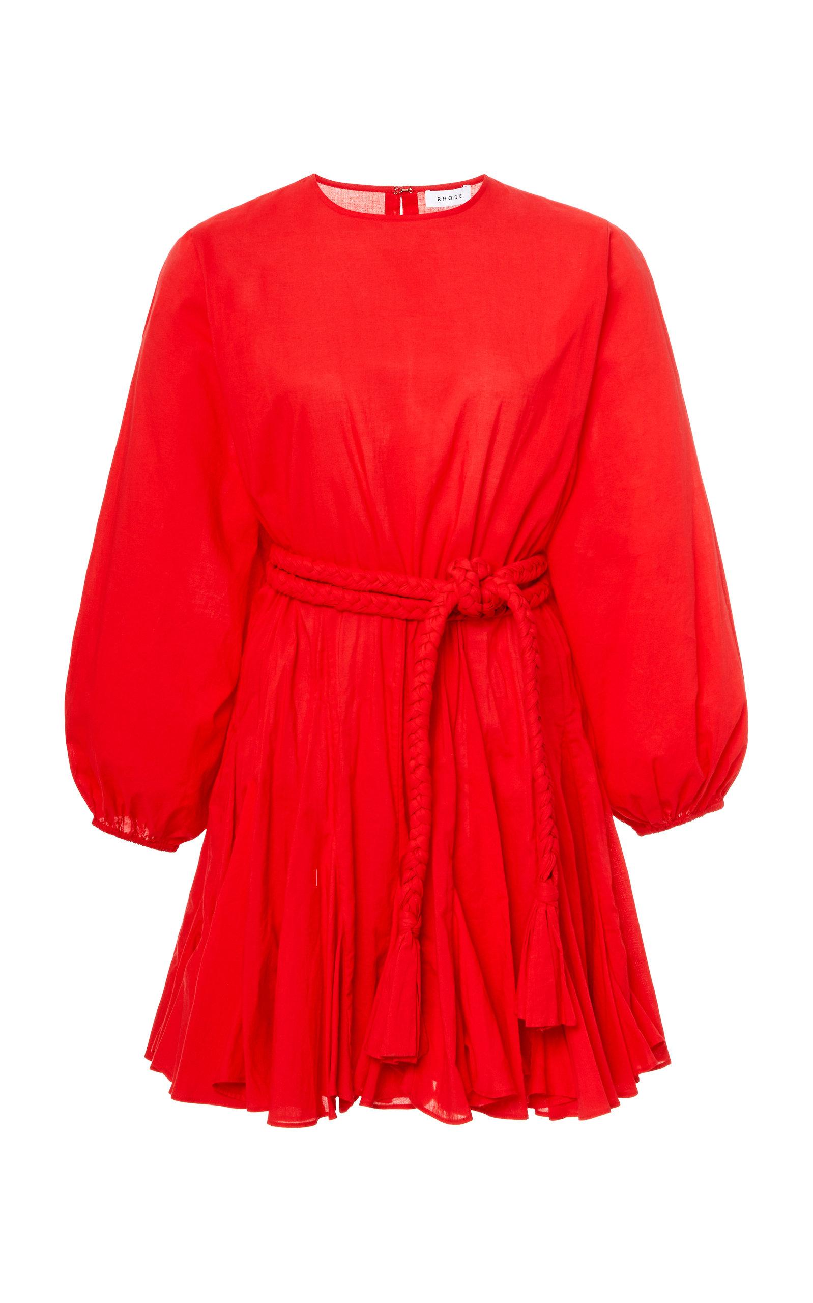 Buy Rhode Ella Tie-Waist Cotton Mini Dress online, shop Rhode at the best price