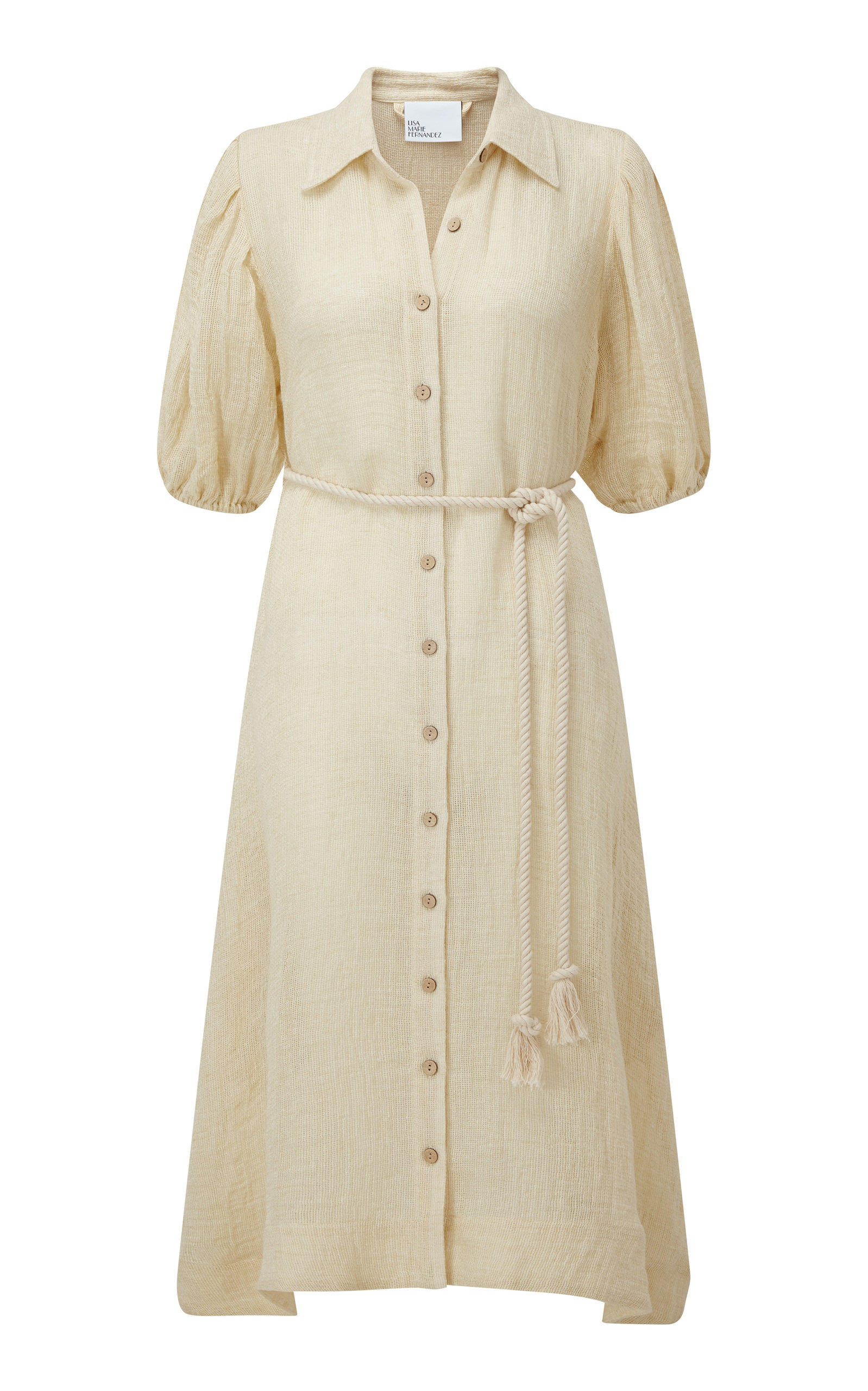 Buy Lisa Marie Fernandez Belted Linen-Blend Gauze Midi Shirt Dress online, shop Lisa Marie Fernandez at the best price
