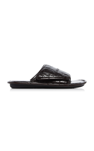 Balenciaga Slides HOME CROC-EMBOSSED LEATHER SANDAL