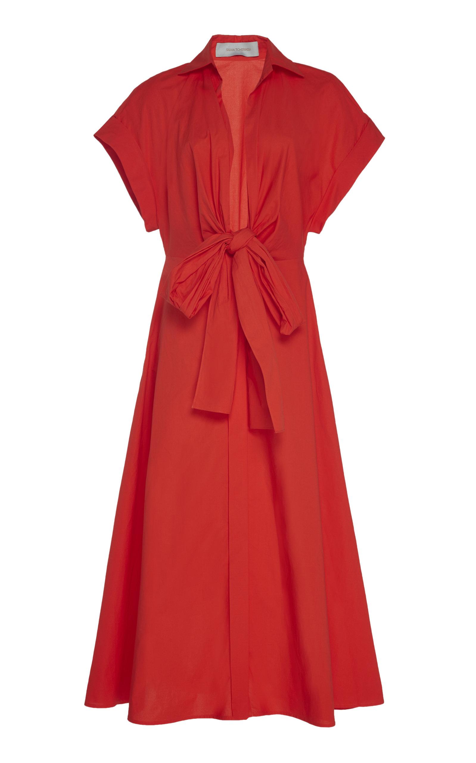 Buy Silvia Tcherassi Sampuesana Tie-Detailed Cotton-Poplin Midi Dress online, shop Silvia Tcherassi at the best price