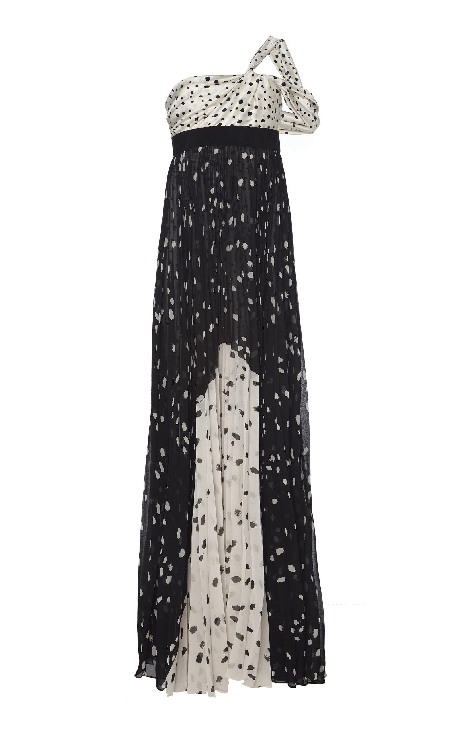 Buy Silvia Tcherassi Salgar Polka-Dot Satin-Paneled Silk-Chiffon Maxi Dres online, shop Silvia Tcherassi at the best price
