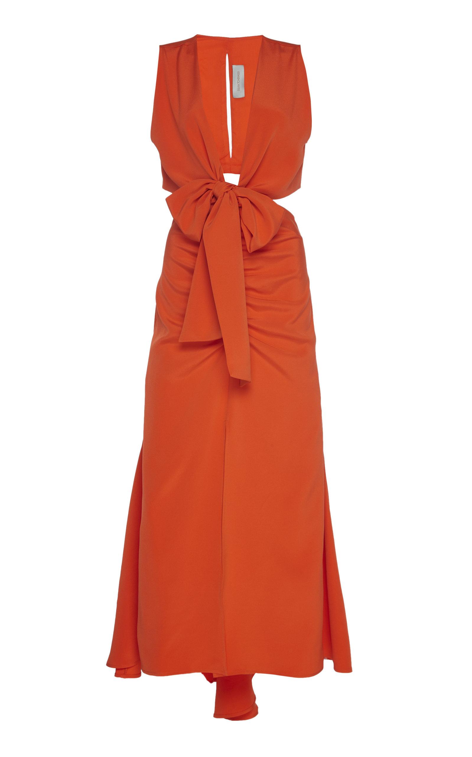 Buy Silvia Tcherassi Cartagena Tie-Detailed Cutout Silk Midi Dress online, shop Silvia Tcherassi at the best price